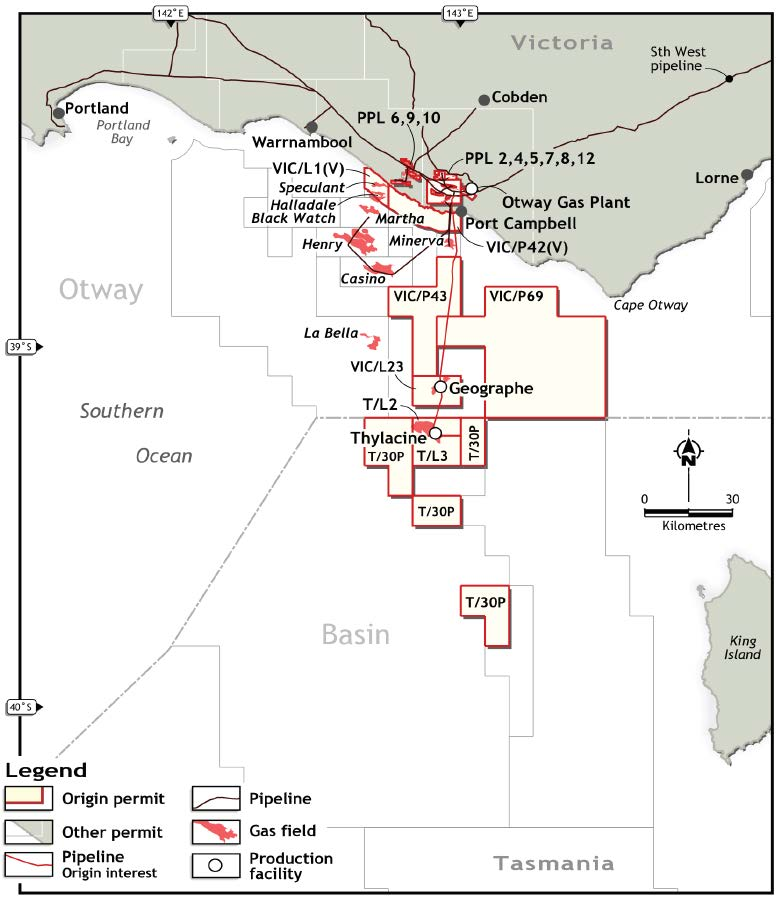 Location map - Activity: Otway Offshore Operations (refer to description)