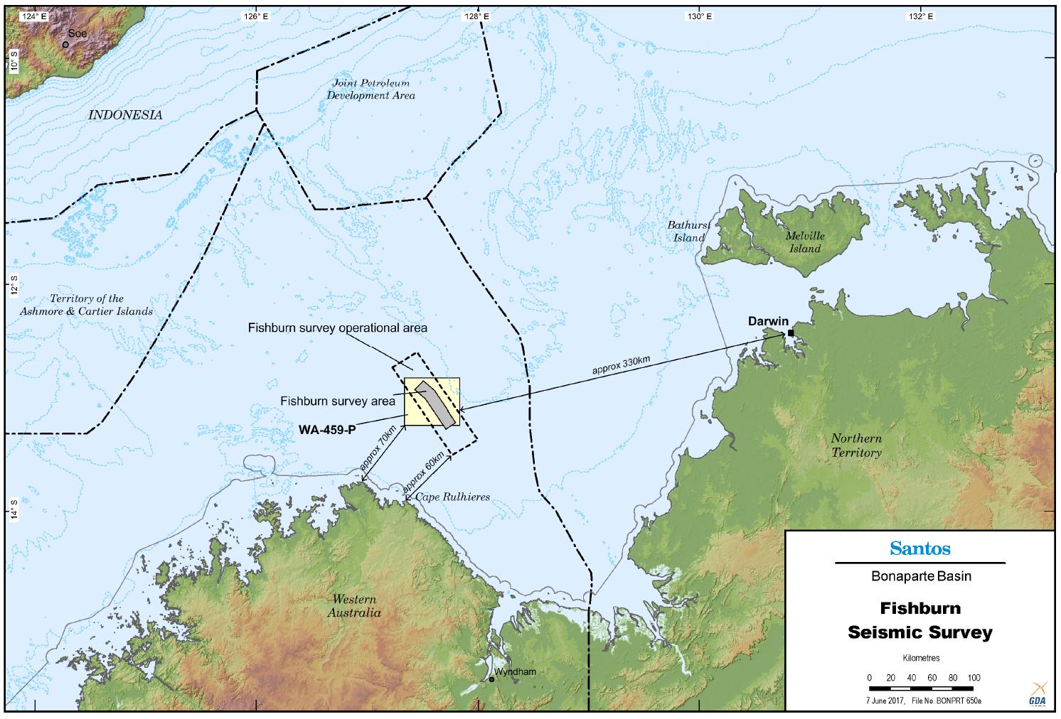 Location map - Activity: Fishburn WA-459-P 3D Seismic Survey (refer to description)