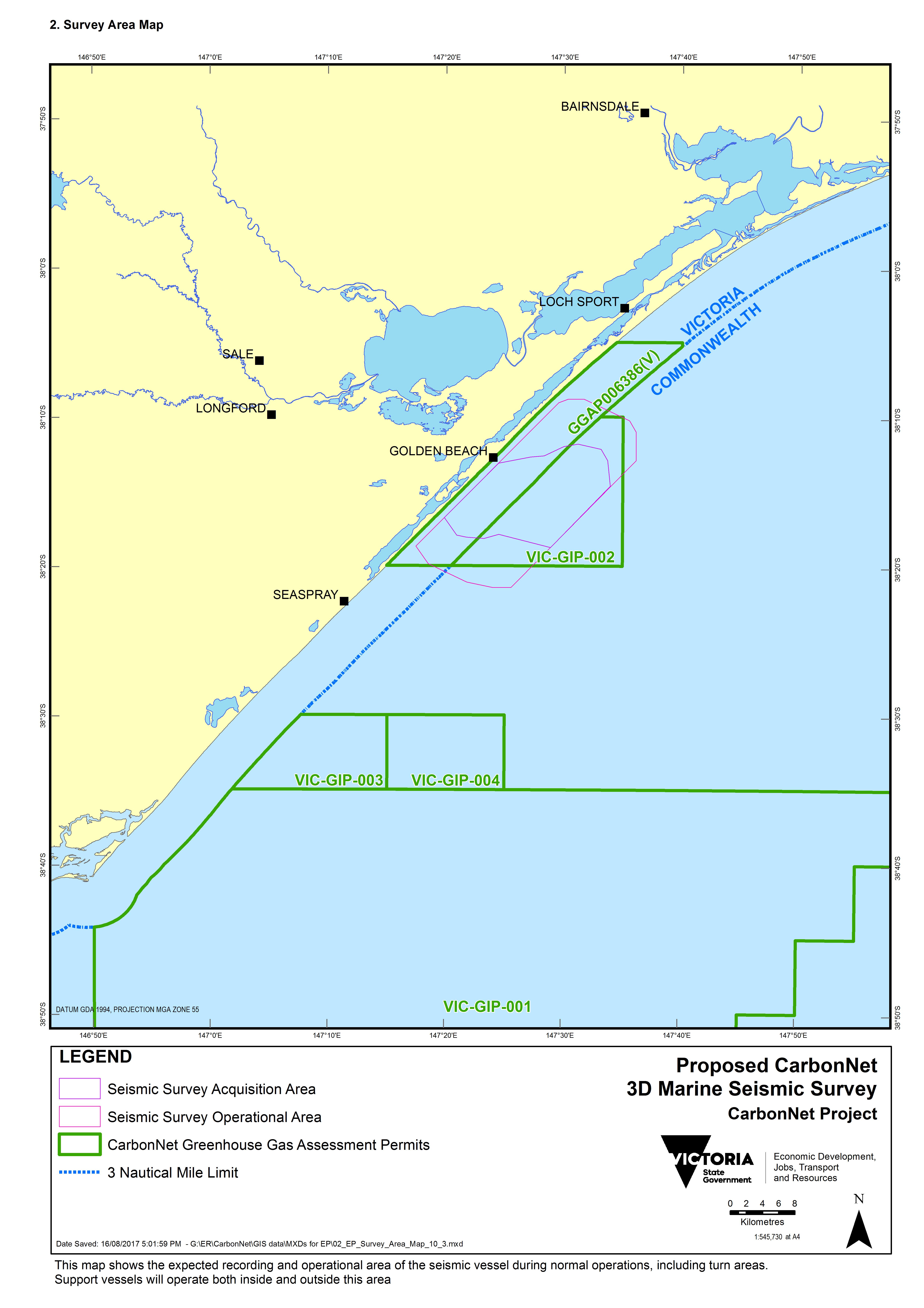 Location map - Activity: Pelican 3D Marine Seismic Survey (refer to description)