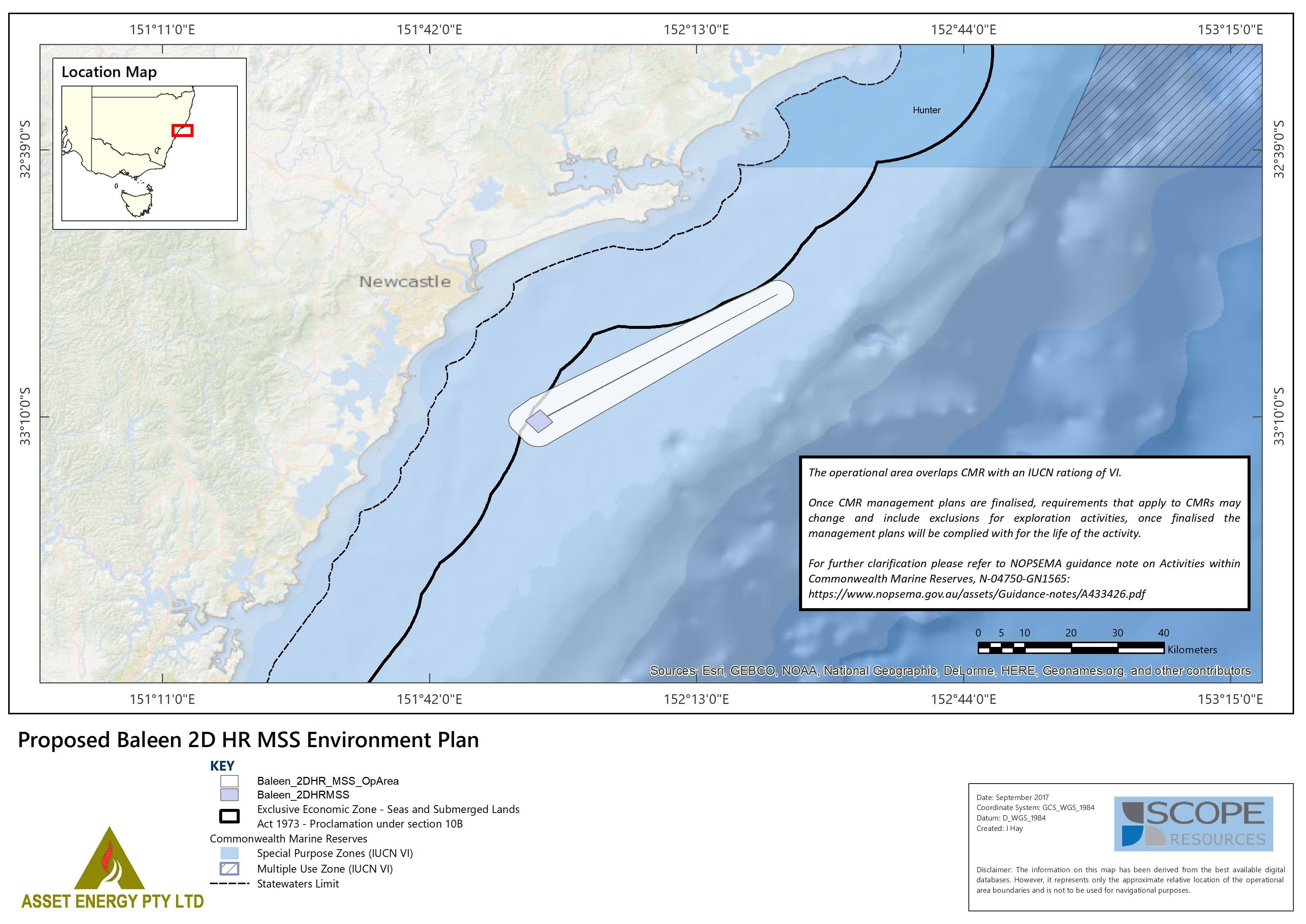 Location map - Activity: Baleen 2D HR Seismic Survey (refer to description)