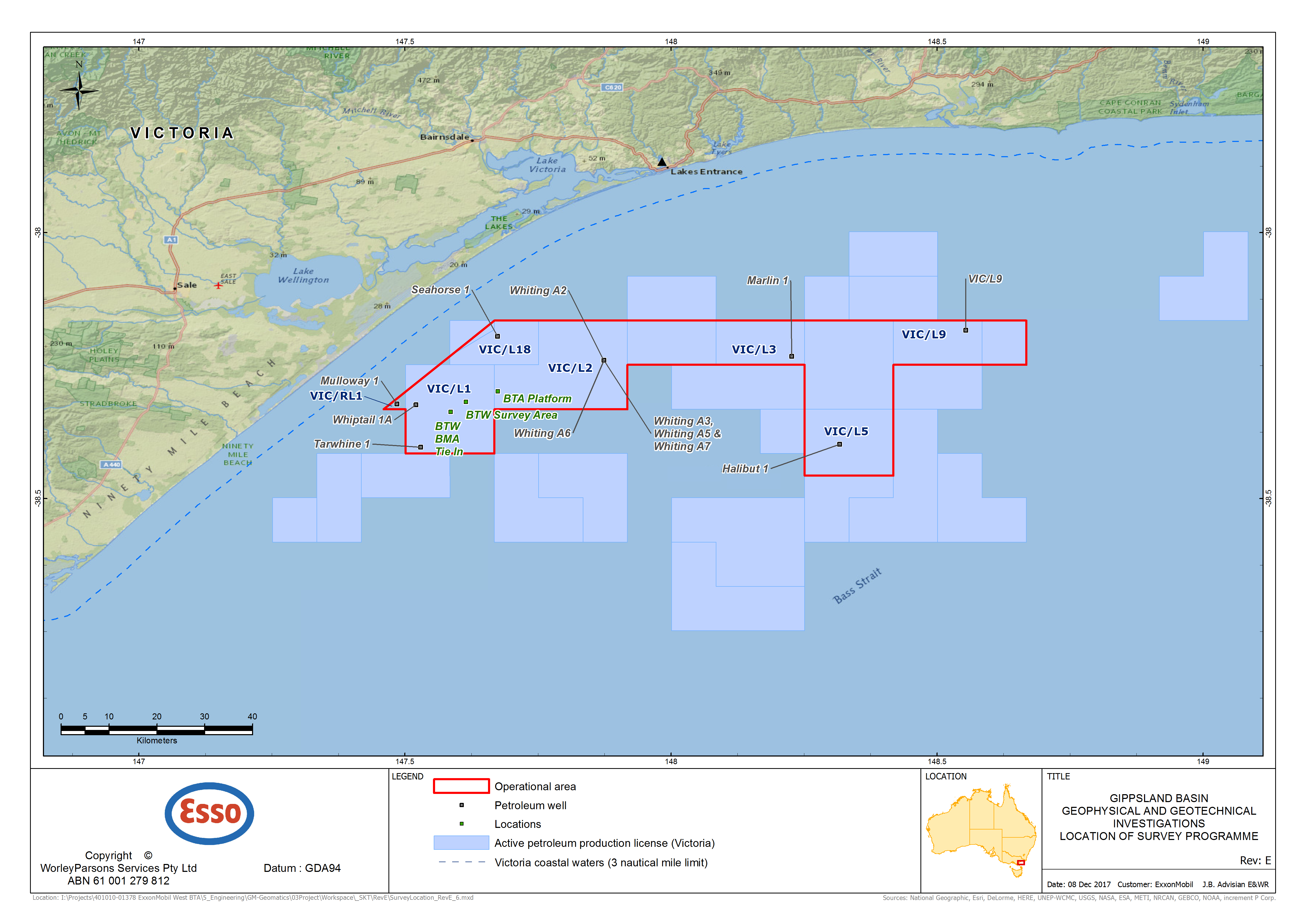 Location map - Activity: Gippsland Basin Geophysical and Geotechnical Investigations (refer to description)