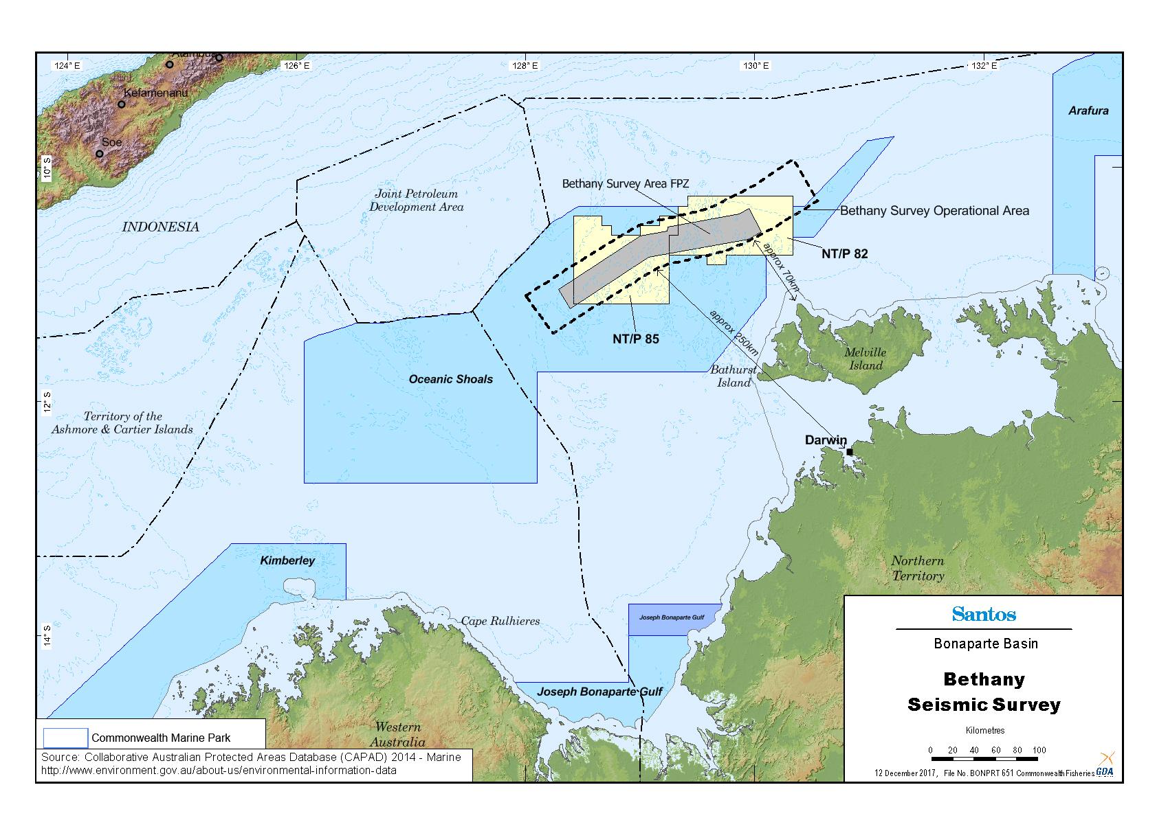 Location map - Activity: Bethany 3D Seismic Survey (refer to description)