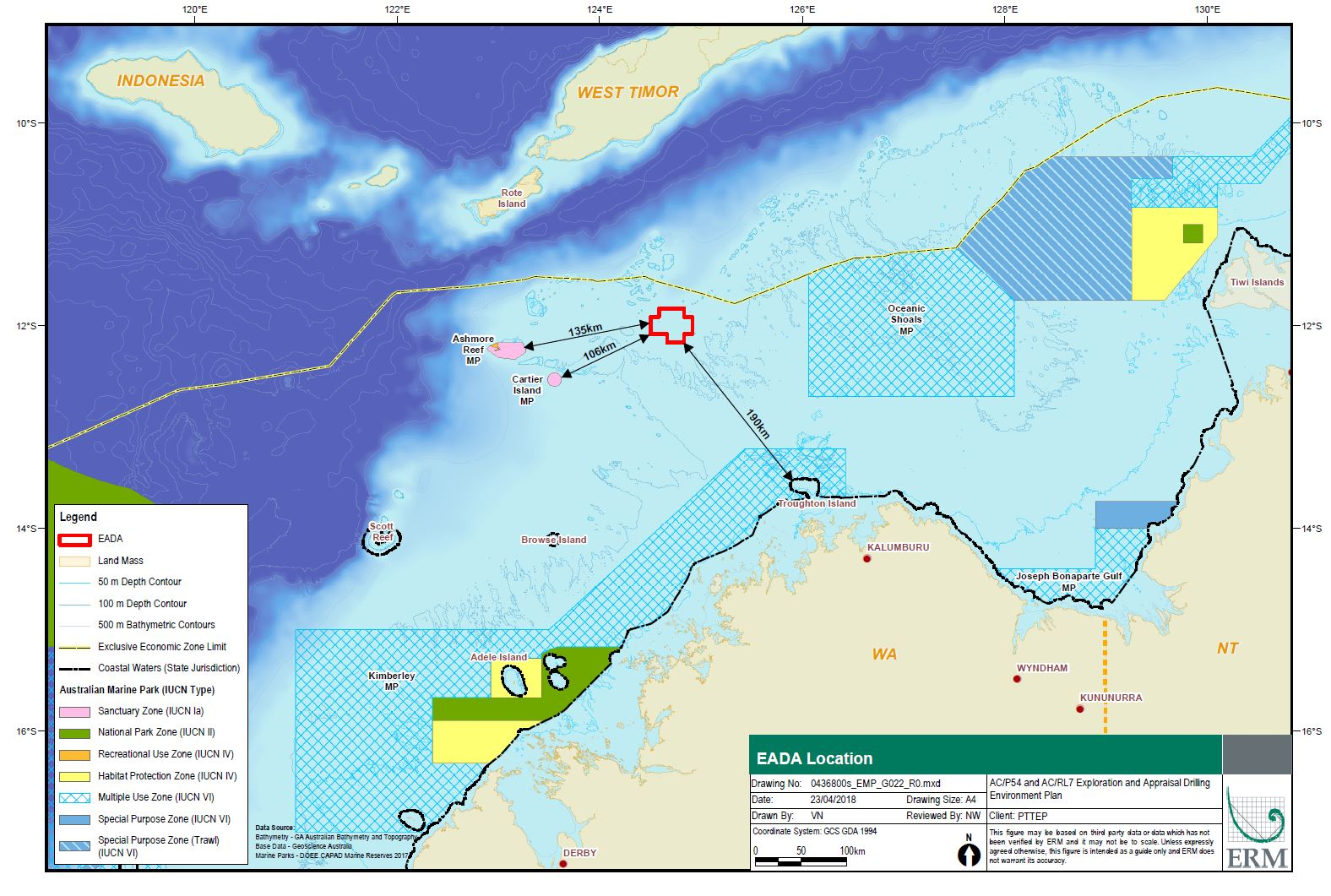 Location map - Activity: AC/P54 and AC/RL7 Exploration and Appraisal Drilling (refer to description)