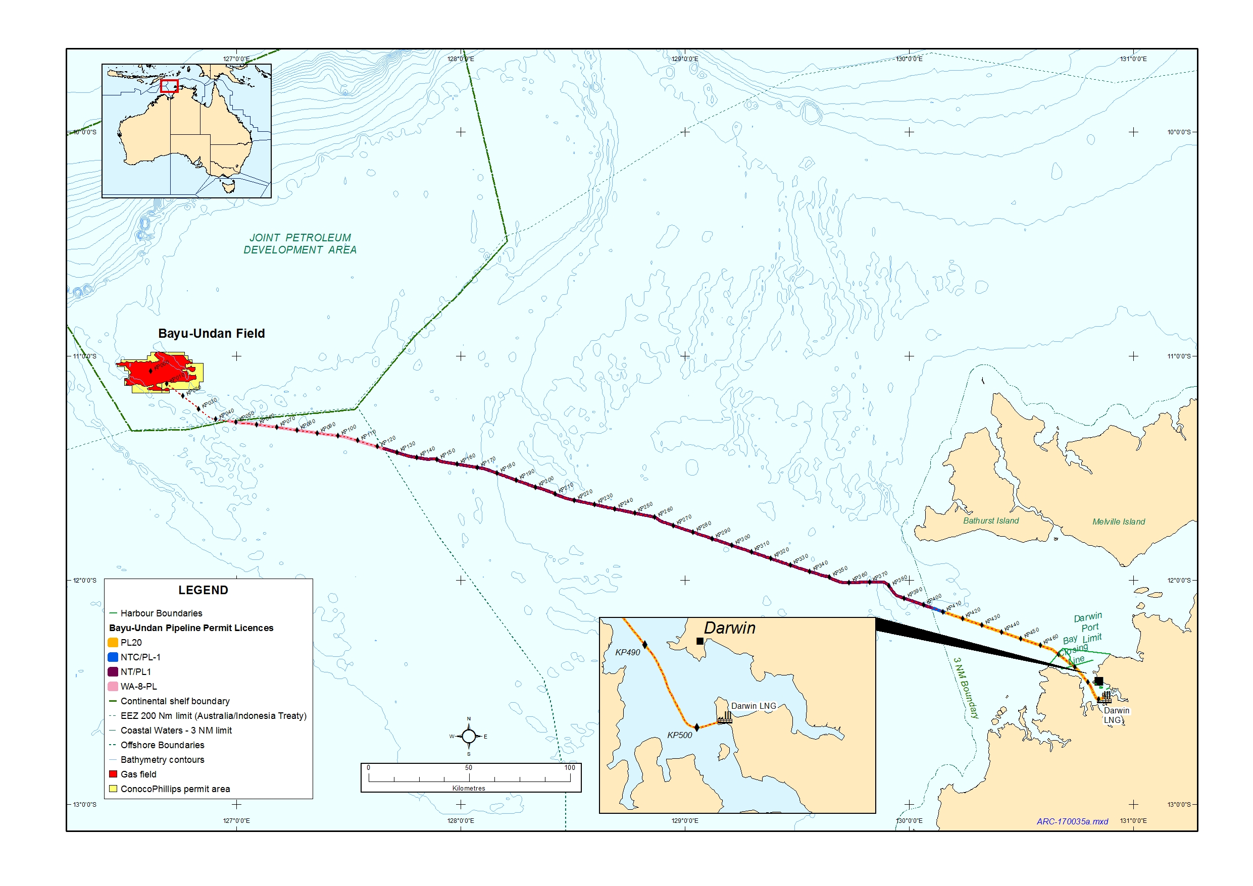 Location map - Activity: Bayu-Undan to Darwin Gas Export Pipeline (refer to description)