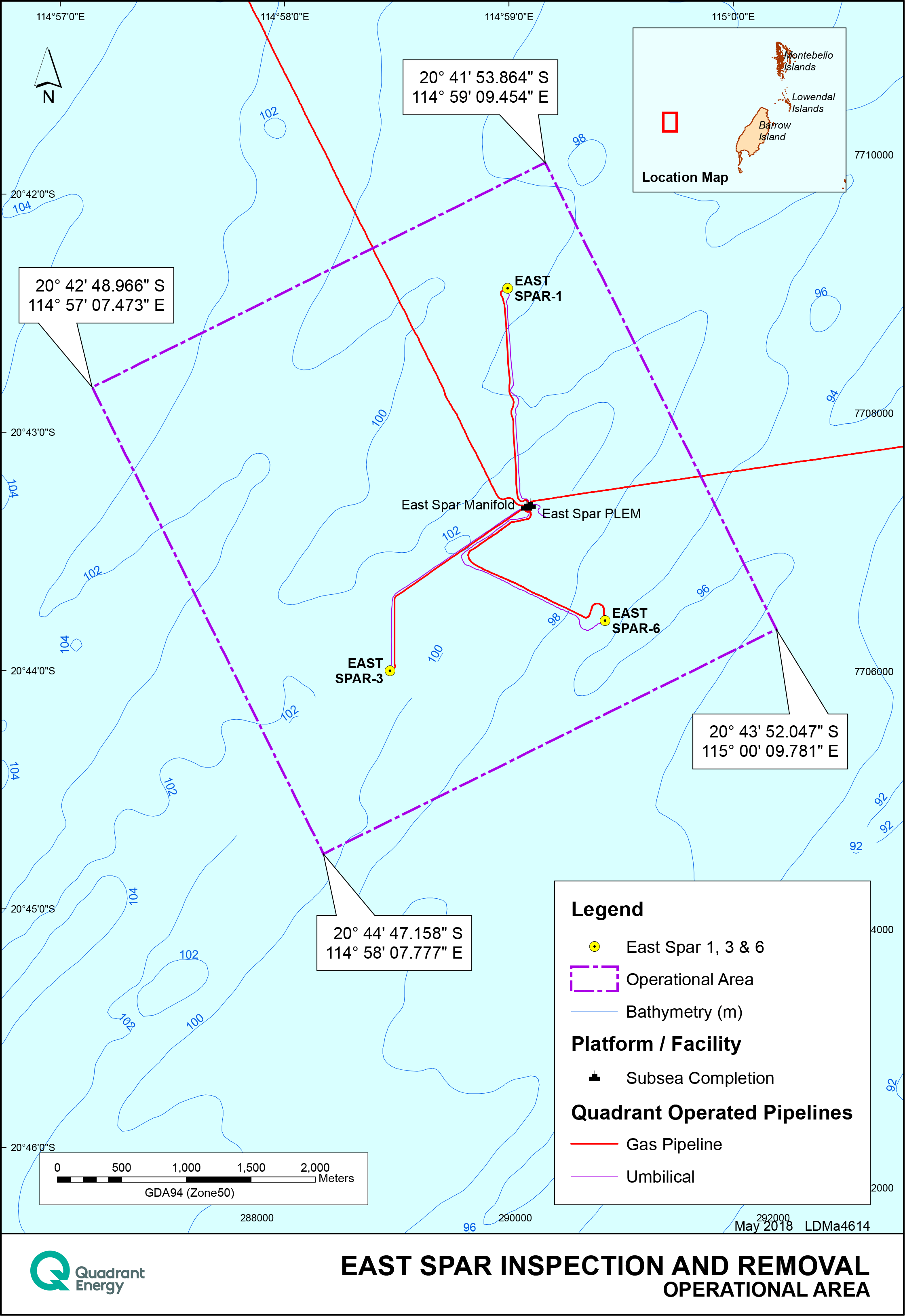 Location map - Activity: East Spar Inspection and Removal (refer to description)