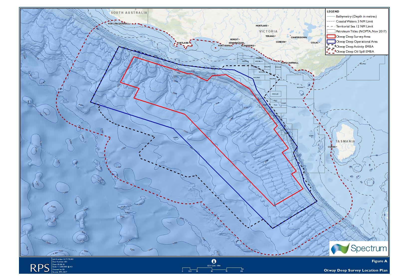 Location map - Activity: Otway Deep Marine Seismic Survey (refer to description)