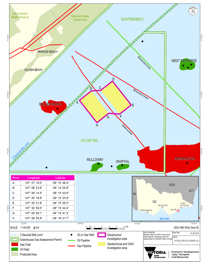 Location map - Activity: VIC-GIP-002 Geophysical and Geotechnical Investigations (refer to description)