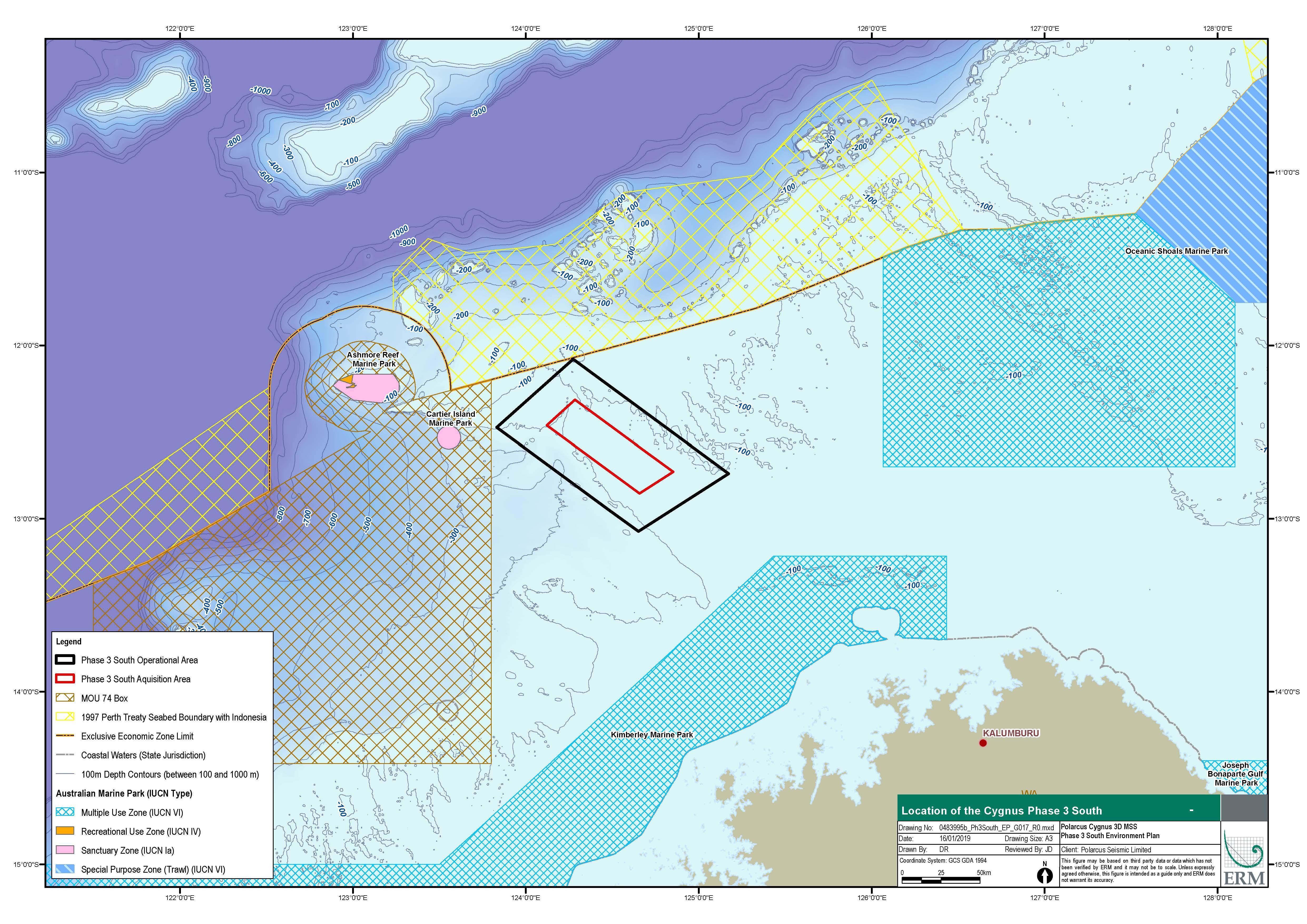 Location map - Activity: Cygnus 3D Marine Seismic Survey Phase 3 South 2019-2020 (refer to description)