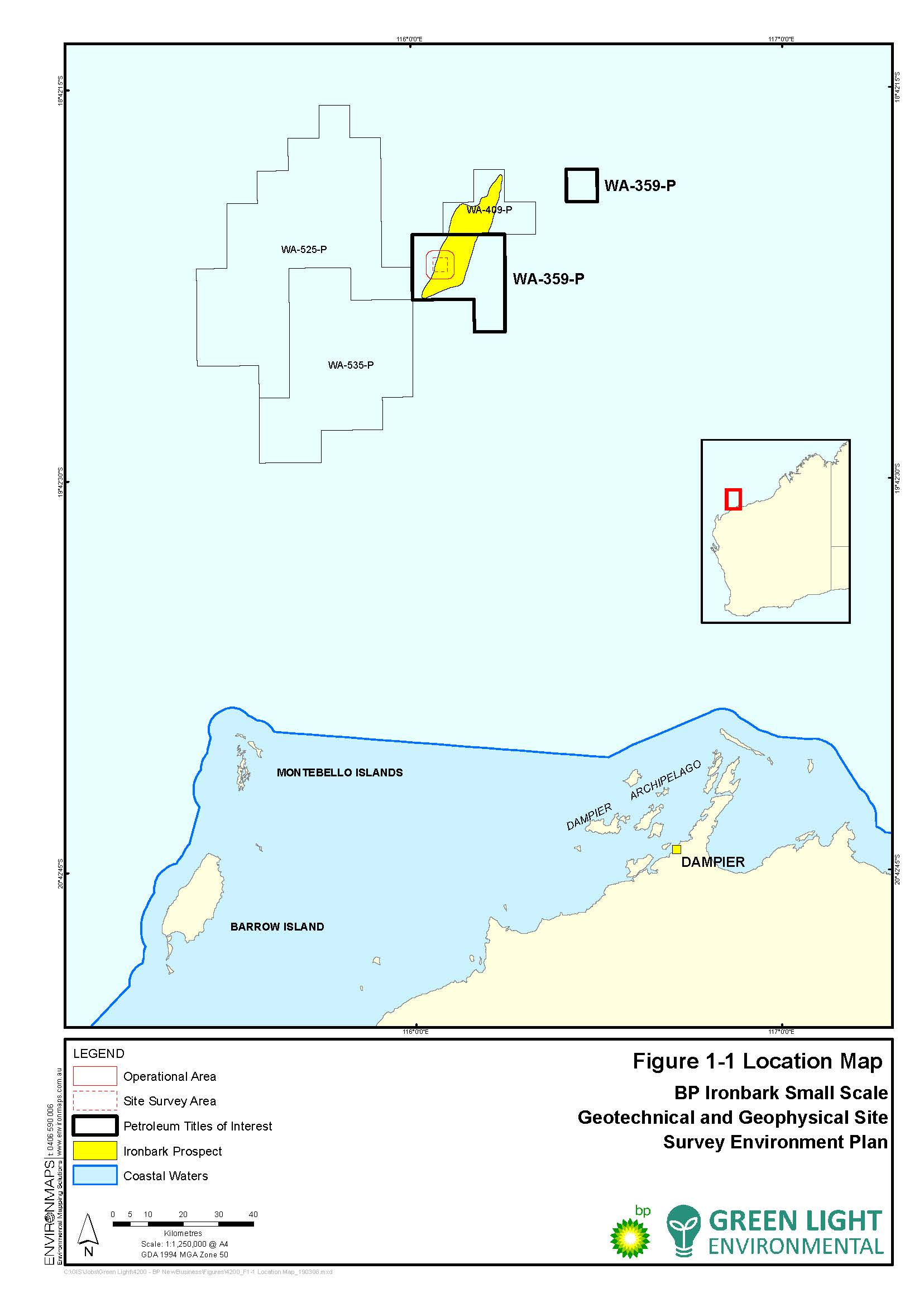 Location map - Activity: BP Ironbark Small Scale Geotechnical and Geophysical Site Survey (refer to description)