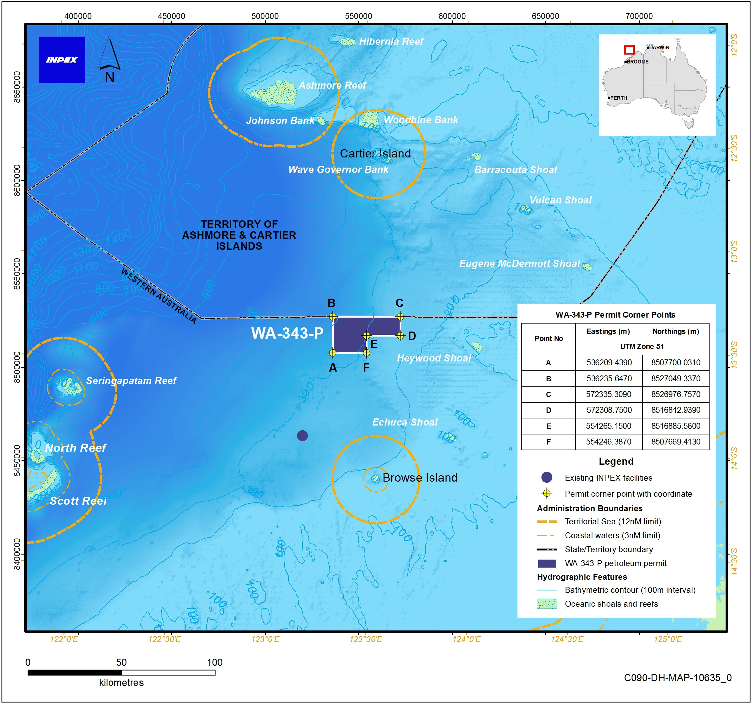 Location map - Activity: Exploration Drilling WA-343-P  (refer to description)