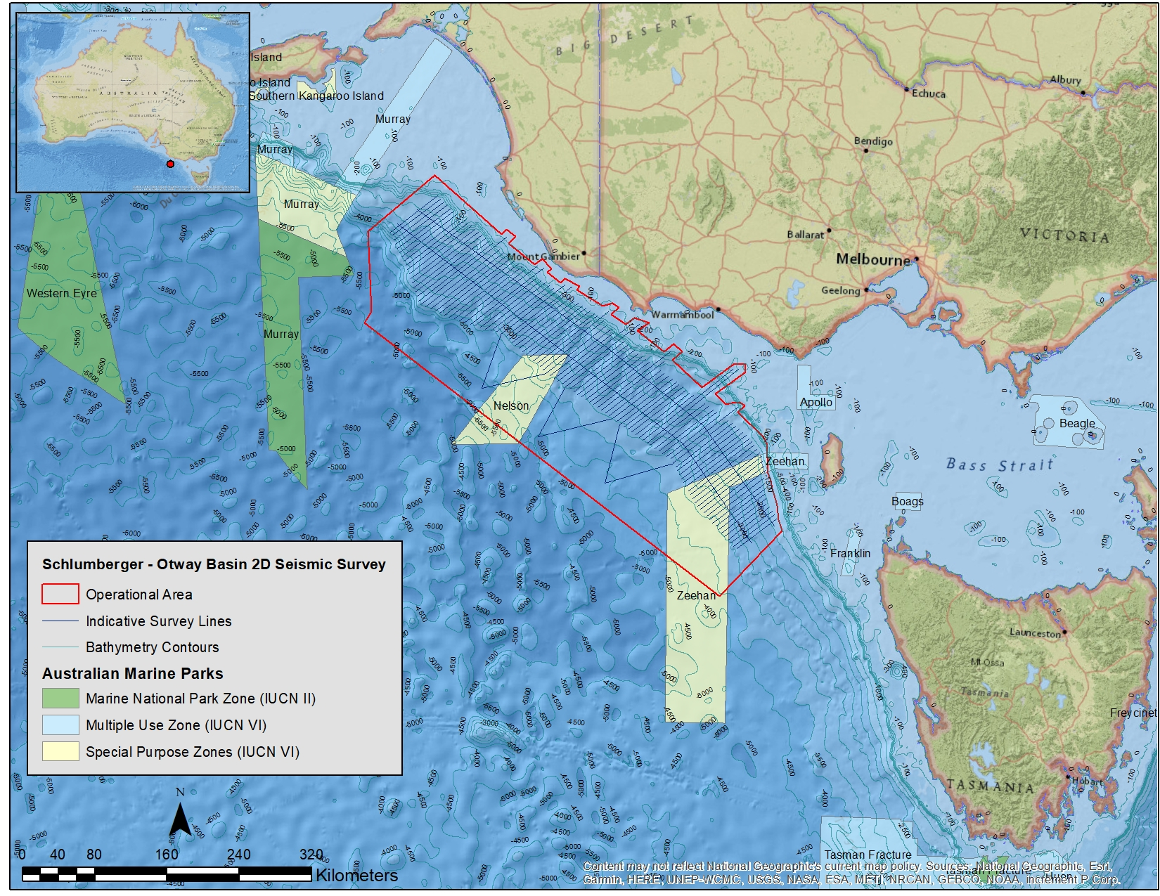 Location map - Activity: Otway Basin 2DMC Marine Seismic Survey  (refer to description)