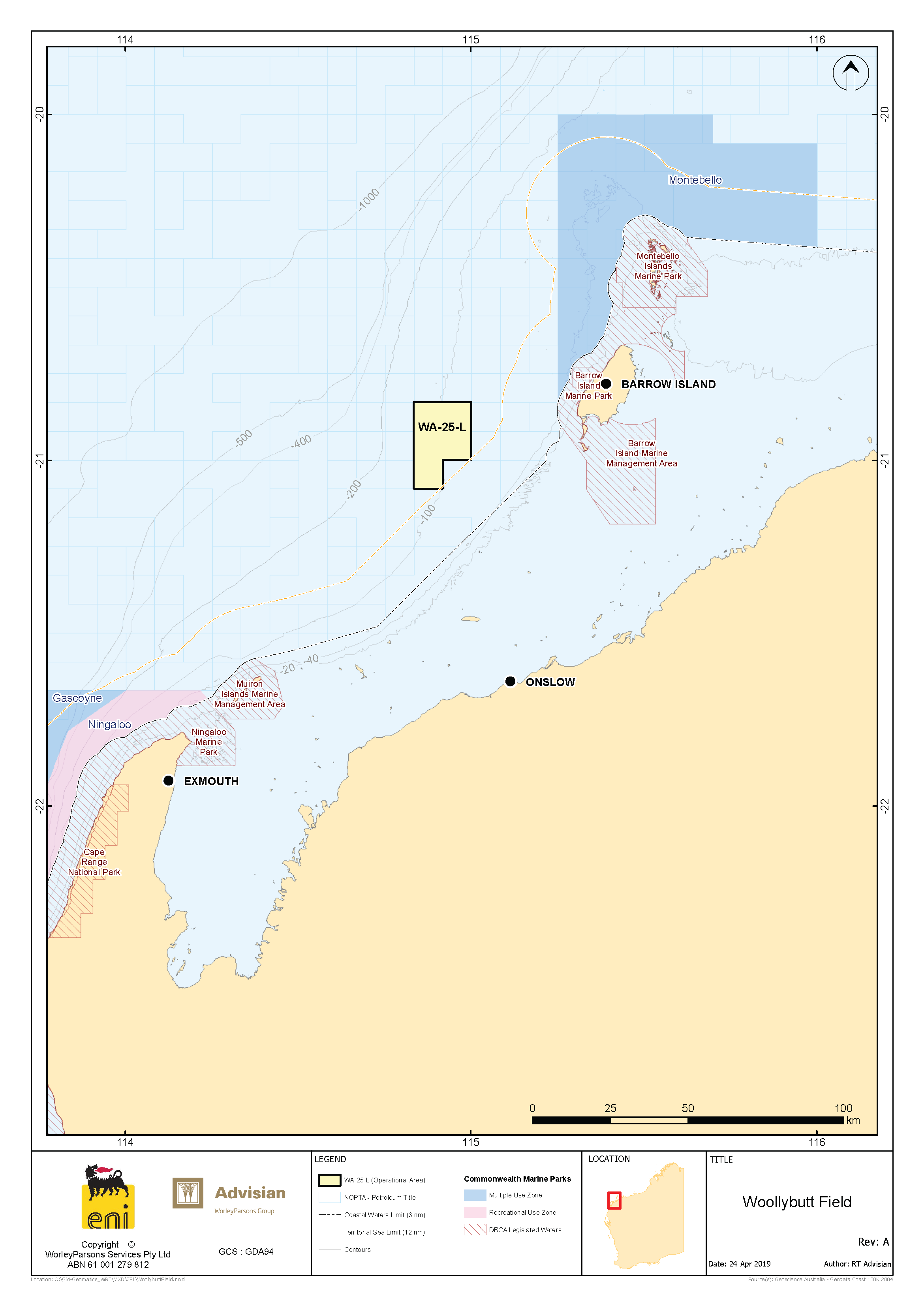 Location map - Activity: Woollybutt Decommissioning Project (refer to description)