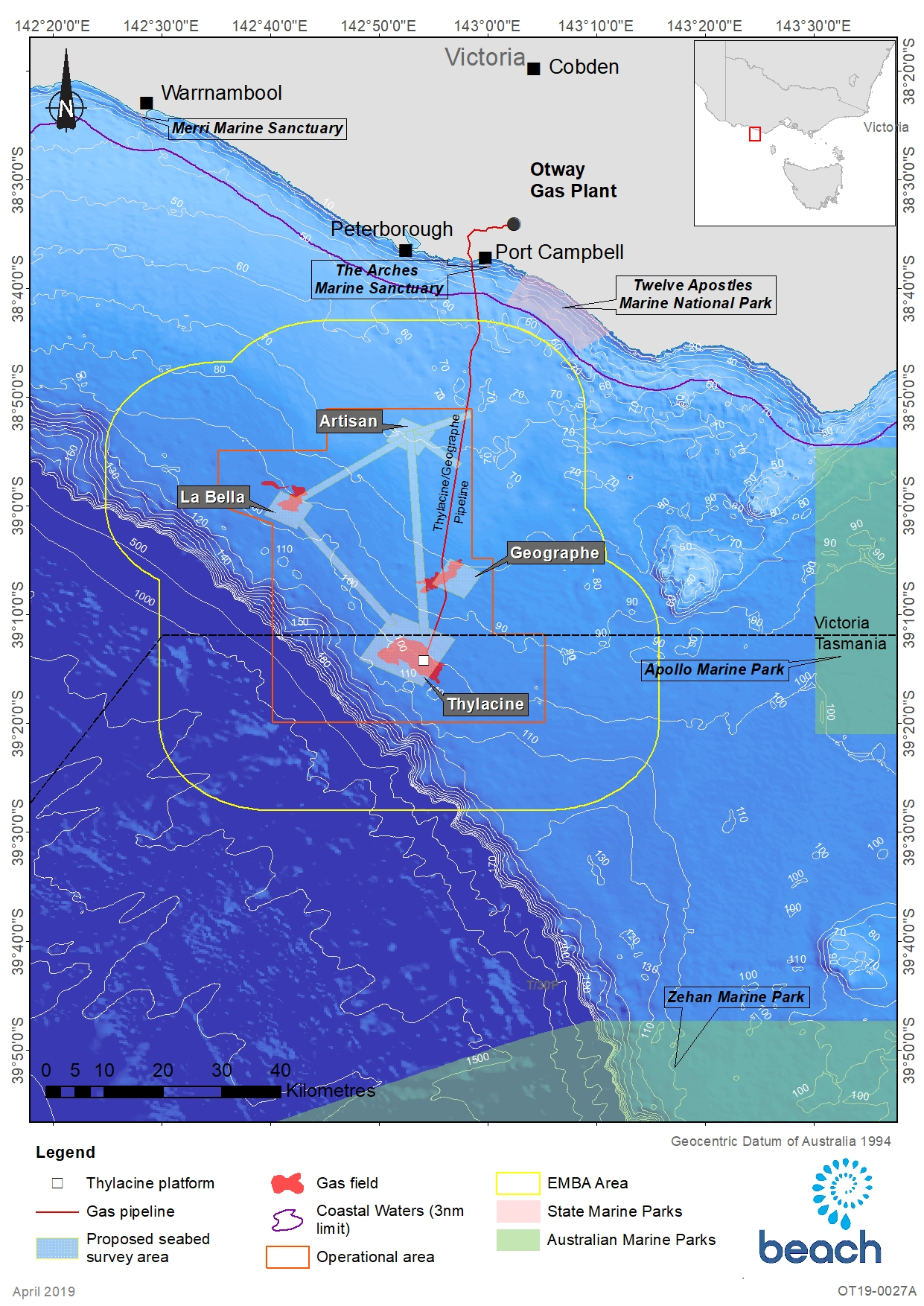 Location Map - Activity: Otway Geophysical and Geotechnical Seabed Assessment  (refer to Description)