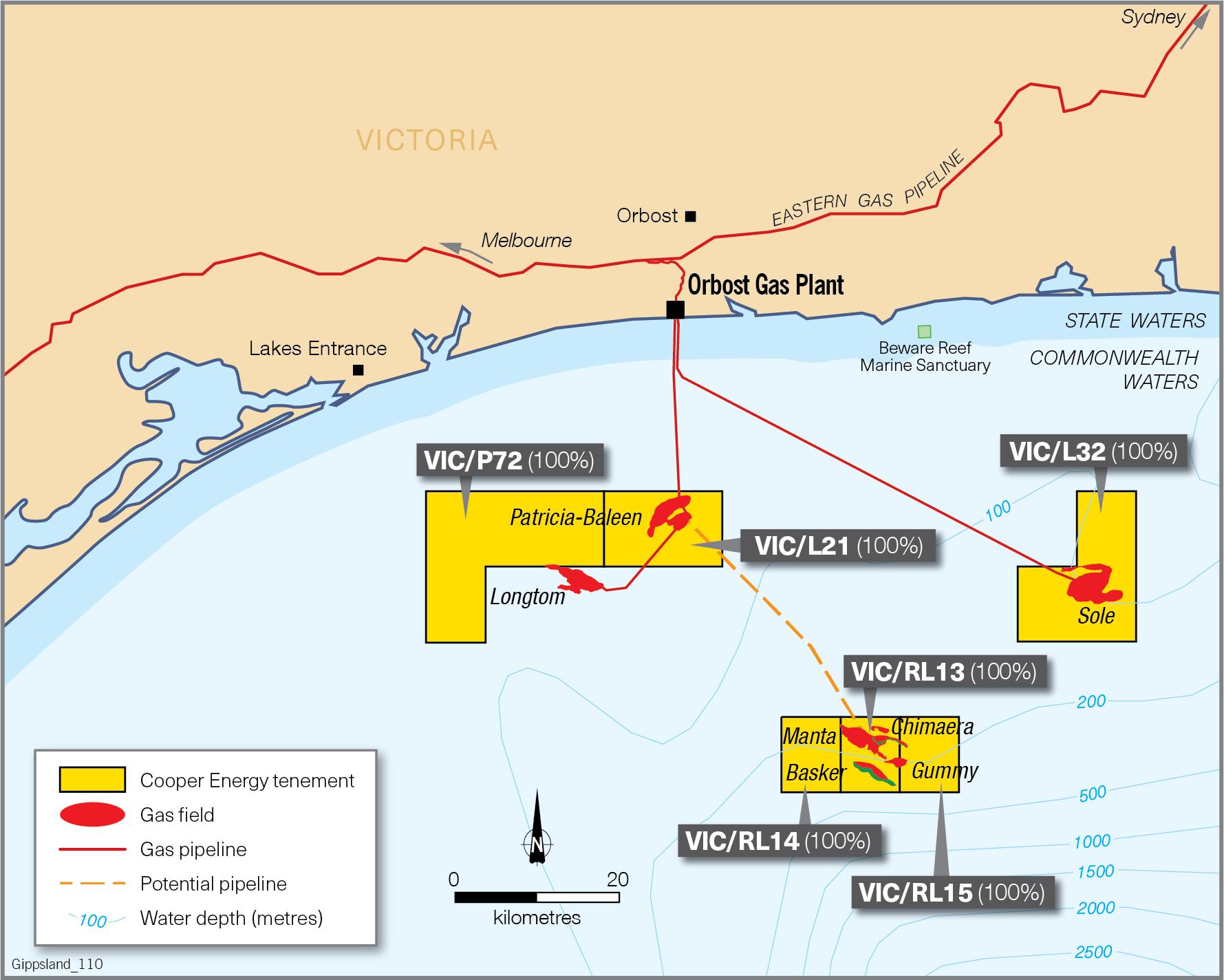 Project map - Gippsland Offshore Development  (refer to Description)