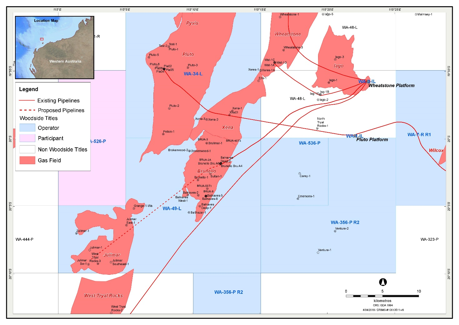 Location map - Activity: Julimar Phase 2 Drilling and Subsea Installation (refer to description)