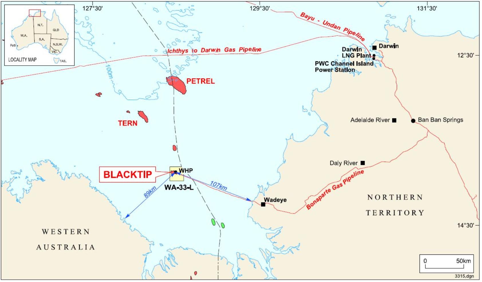 Project map - Blacktip Gas (refer to Description)