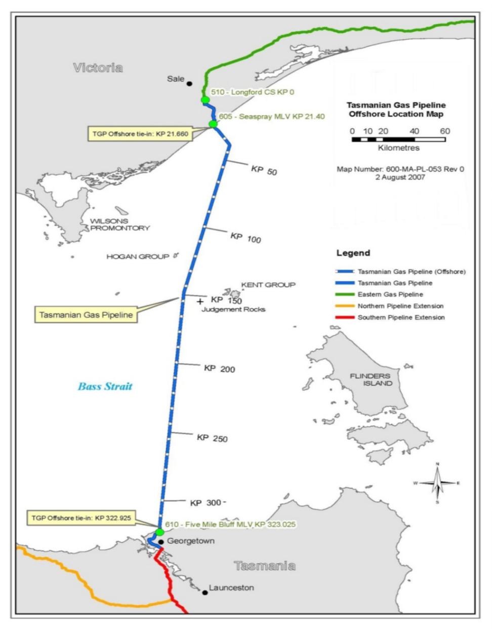 Project map - Tasmanian Gas Pipeline (refer to Description)