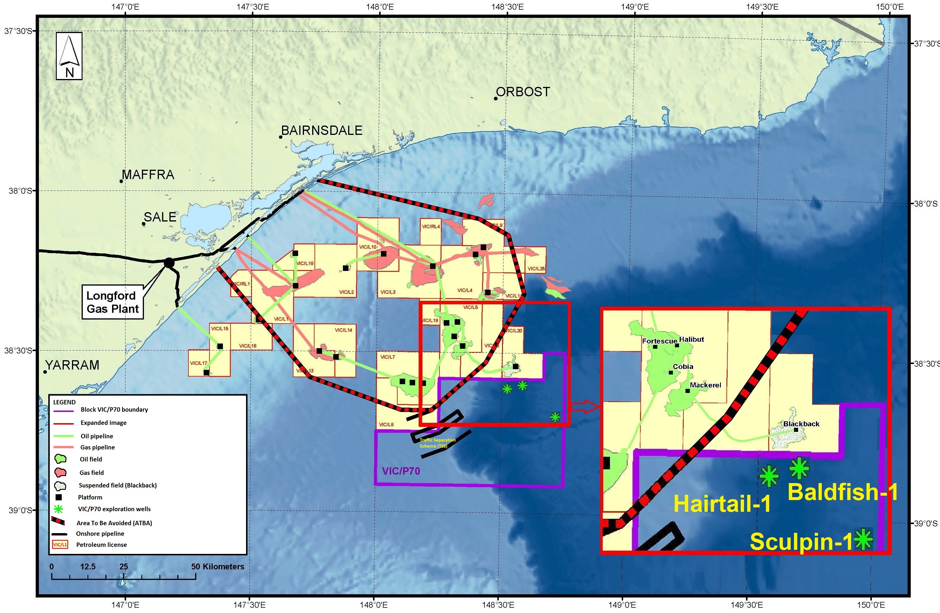 Location map - Activity: VIC/P70 Exploration Drilling (refer to description)