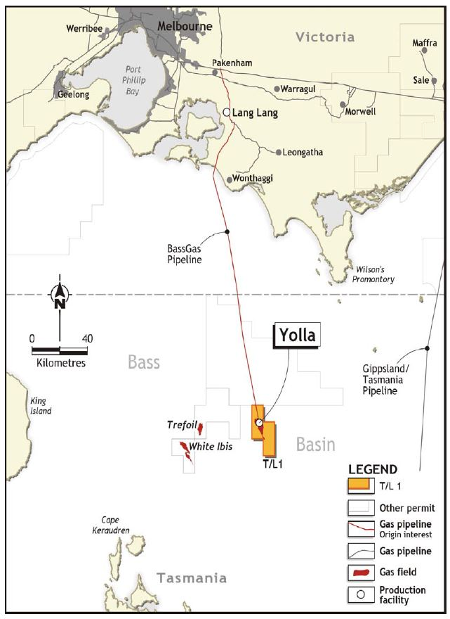 Location map - Activity: BassGas Offshore (refer to description)