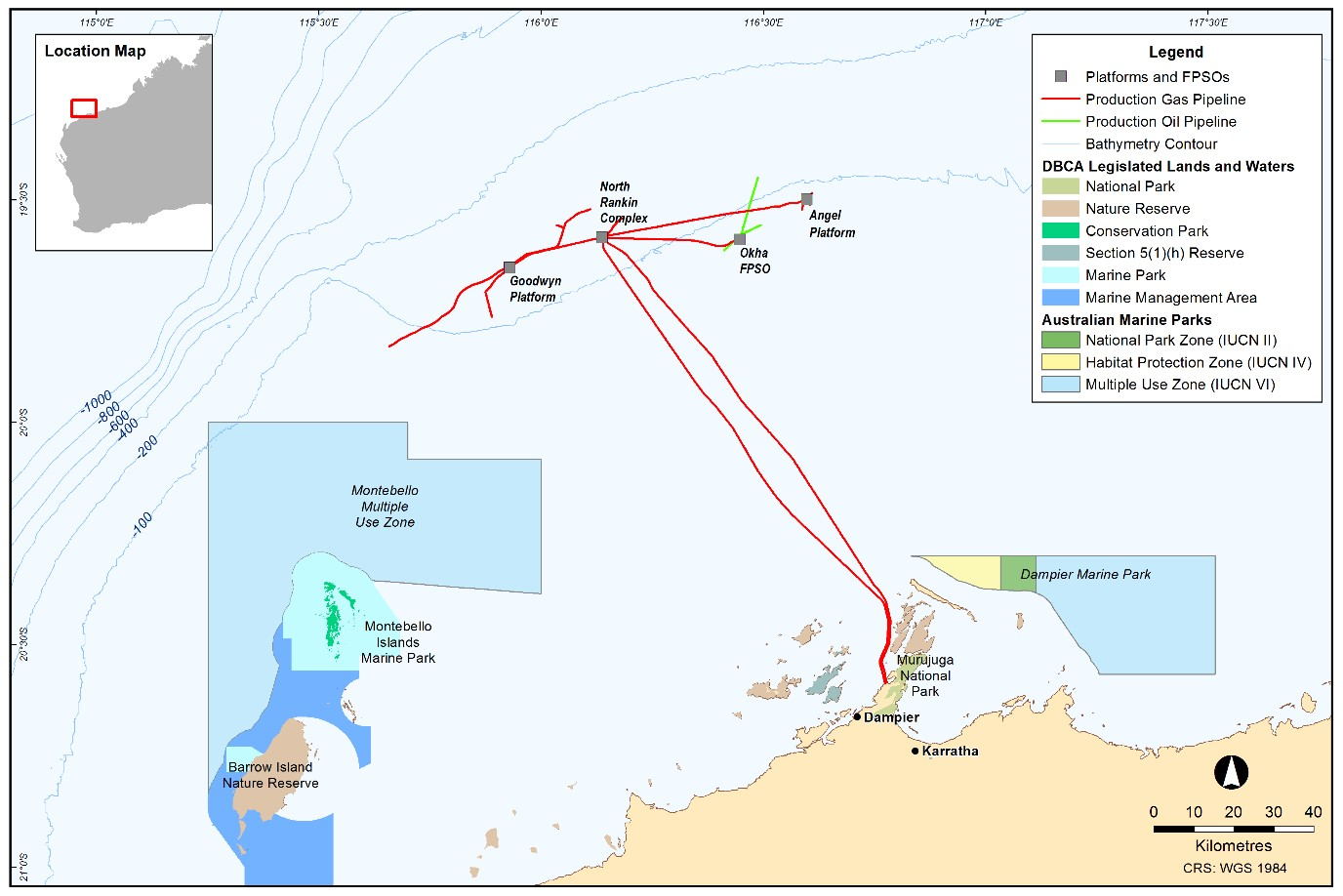 Project map - North West Shelf  (refer to Description)