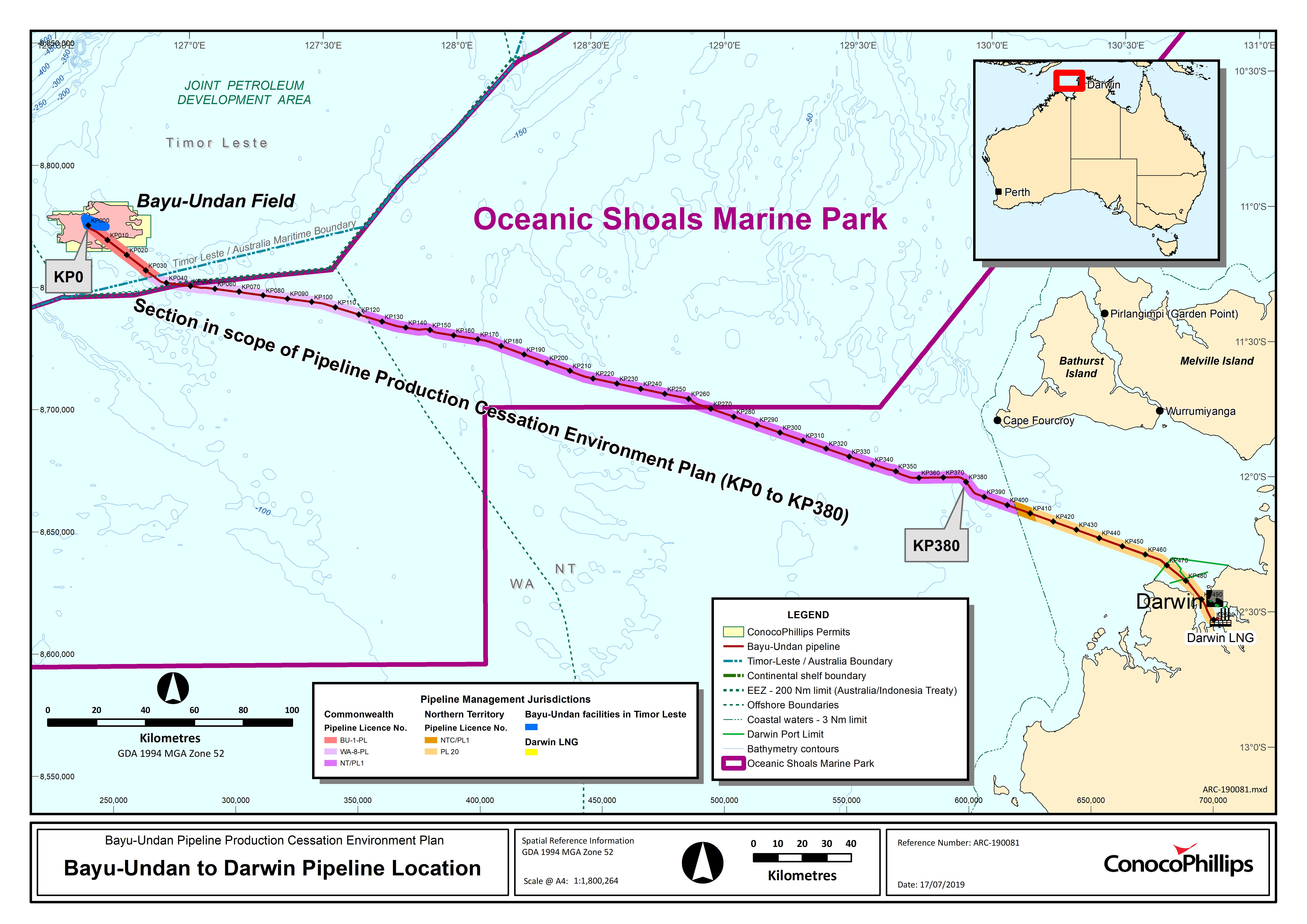 Location map - Activity: Bayu-Undan to Darwin Gas Export Pipeline Production Cessation  (refer to description)