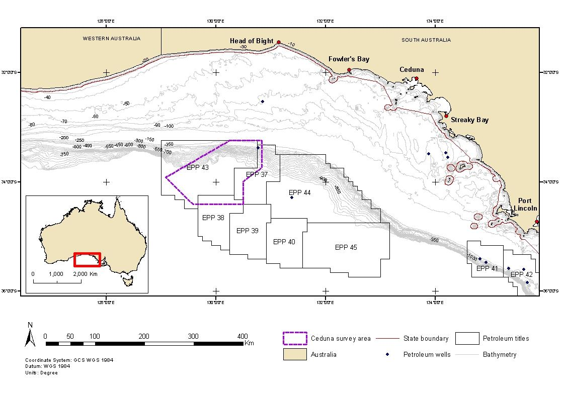Location map - Activity: Ceduna Multi-Client 3D Marine Seismic Survey (refer to description)