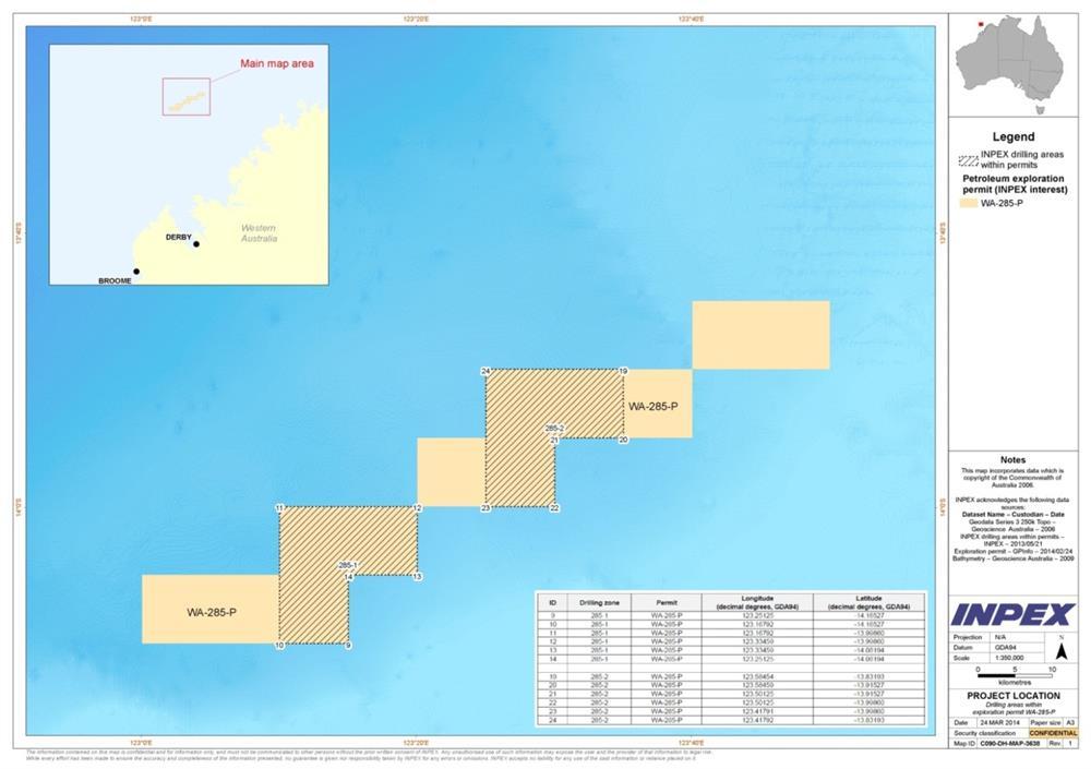 Location map - Activity: Exploration Drilling Campaign WA-285-P (refer to description)
