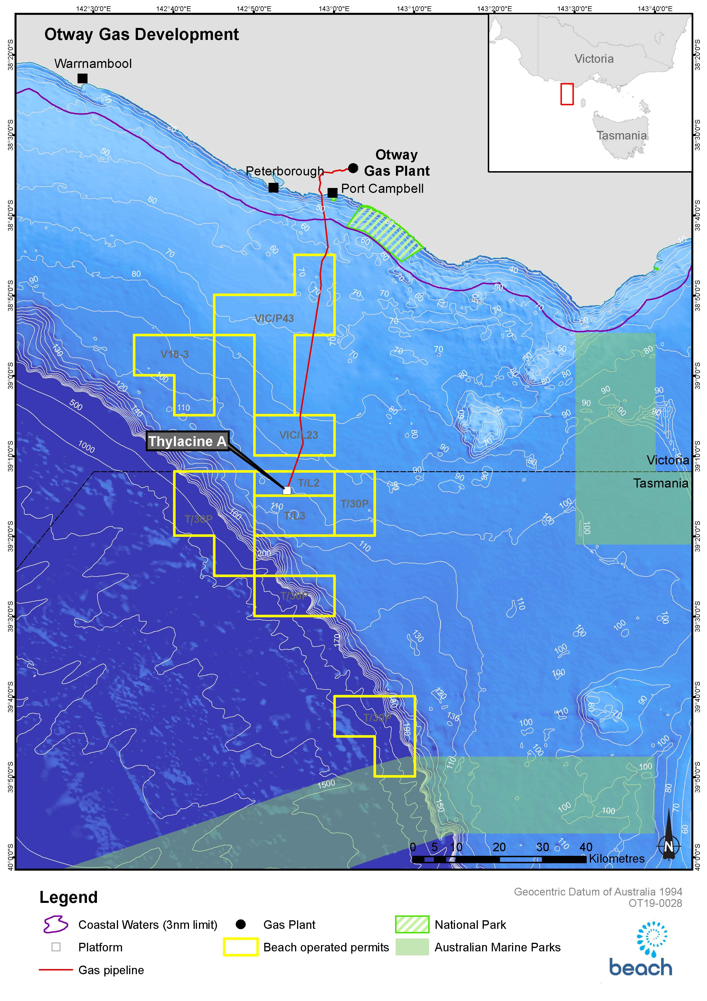 Project map - Otway Offshore Development  (Thylacine and Geographe) (refer to Description)