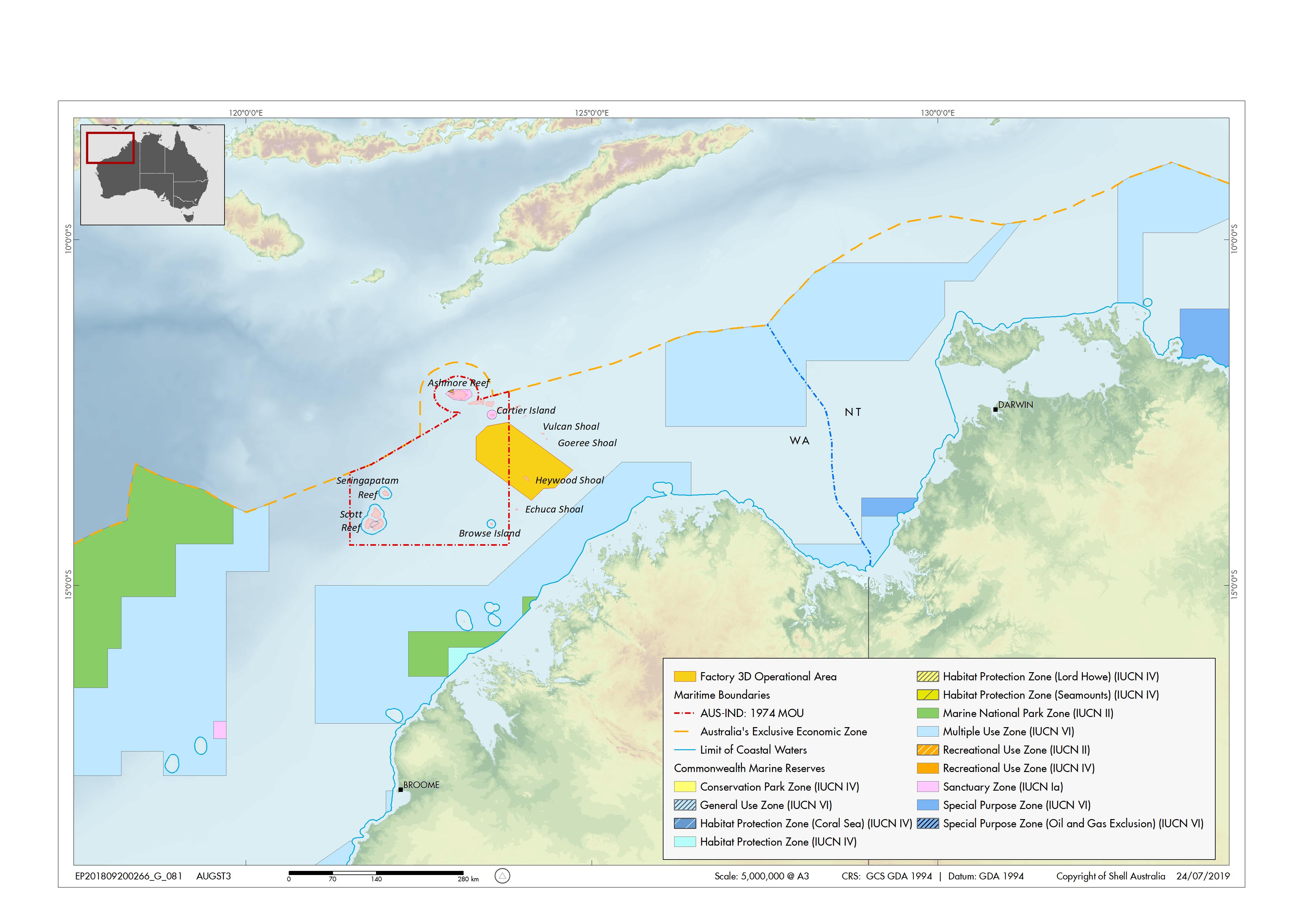 Location map - Activity: Factory 3D Marine Seismic Survey (refer to description)