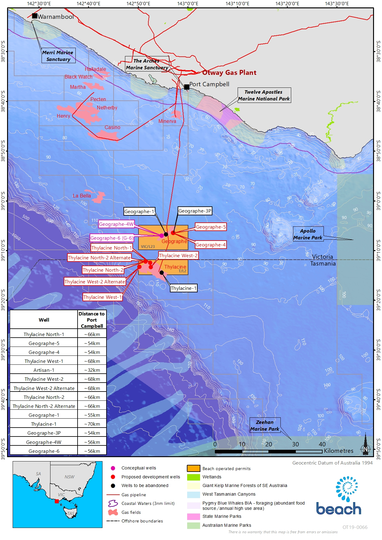 Location map - Activity: Otway Development Drilling and Well Abandonment (refer to description)