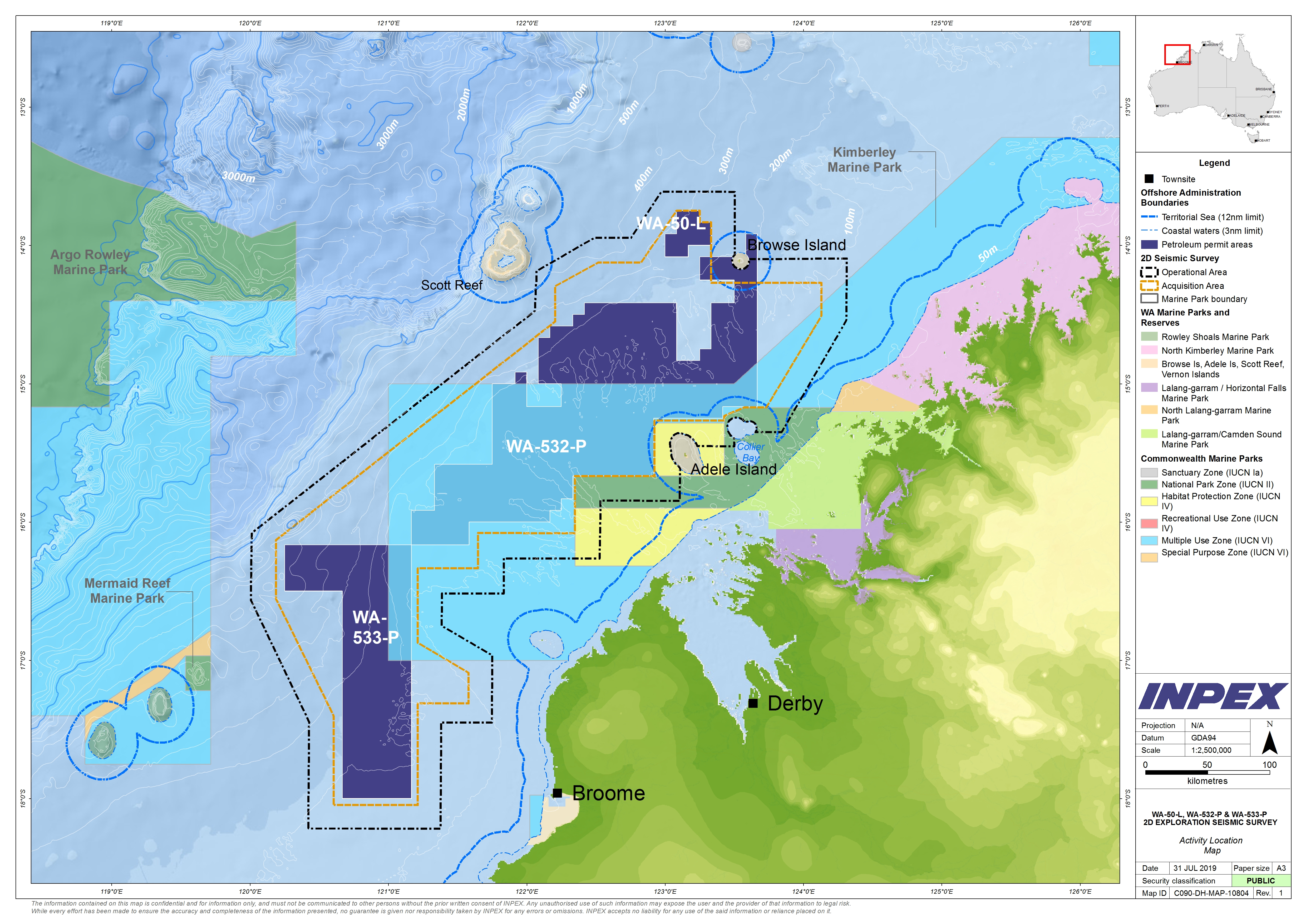 Location map - Activity: 2D Seismic Survey WA-532-P, WA-533-P and WA-50-L (refer to description)