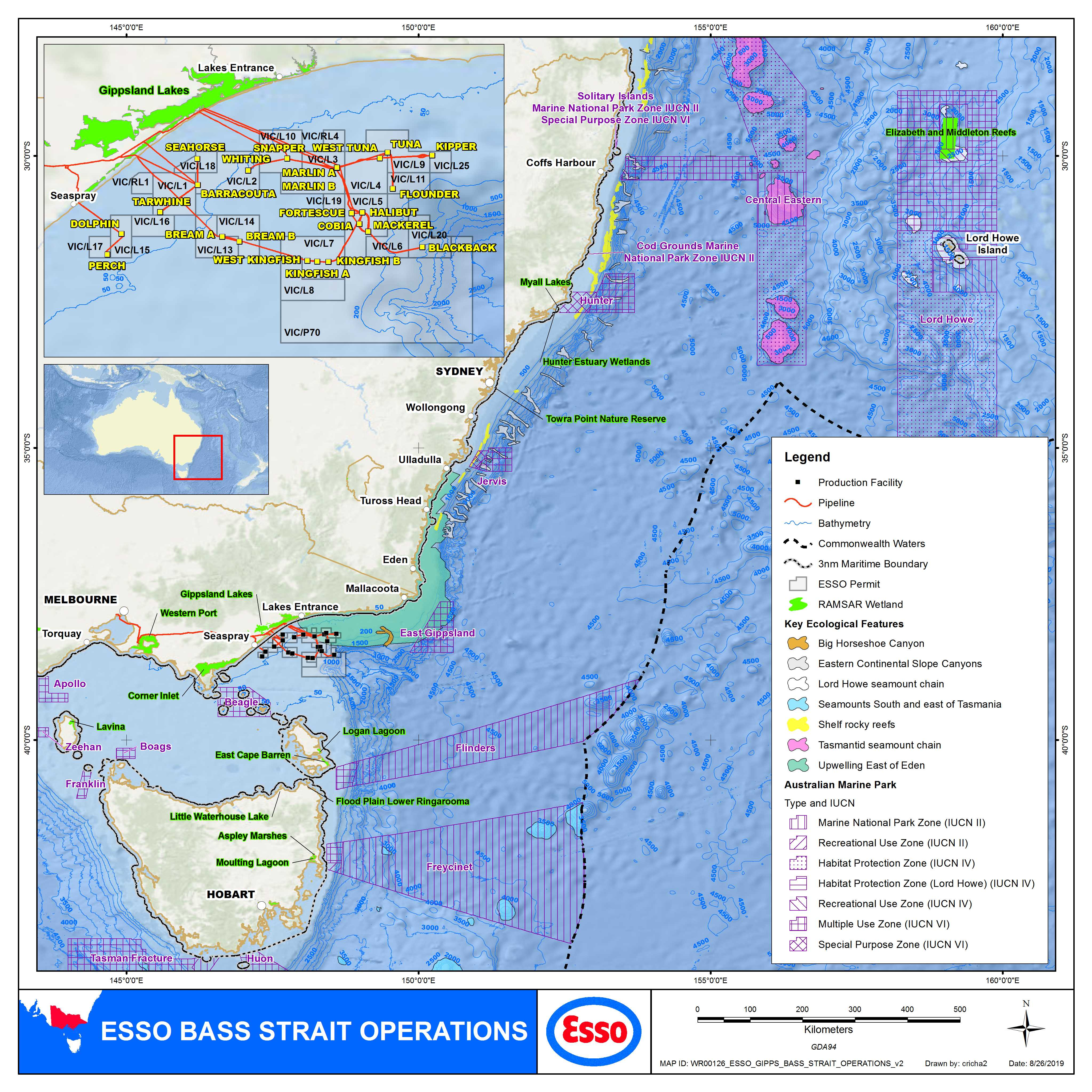 Location map - Activity: Bass Strait Operations (refer to description)