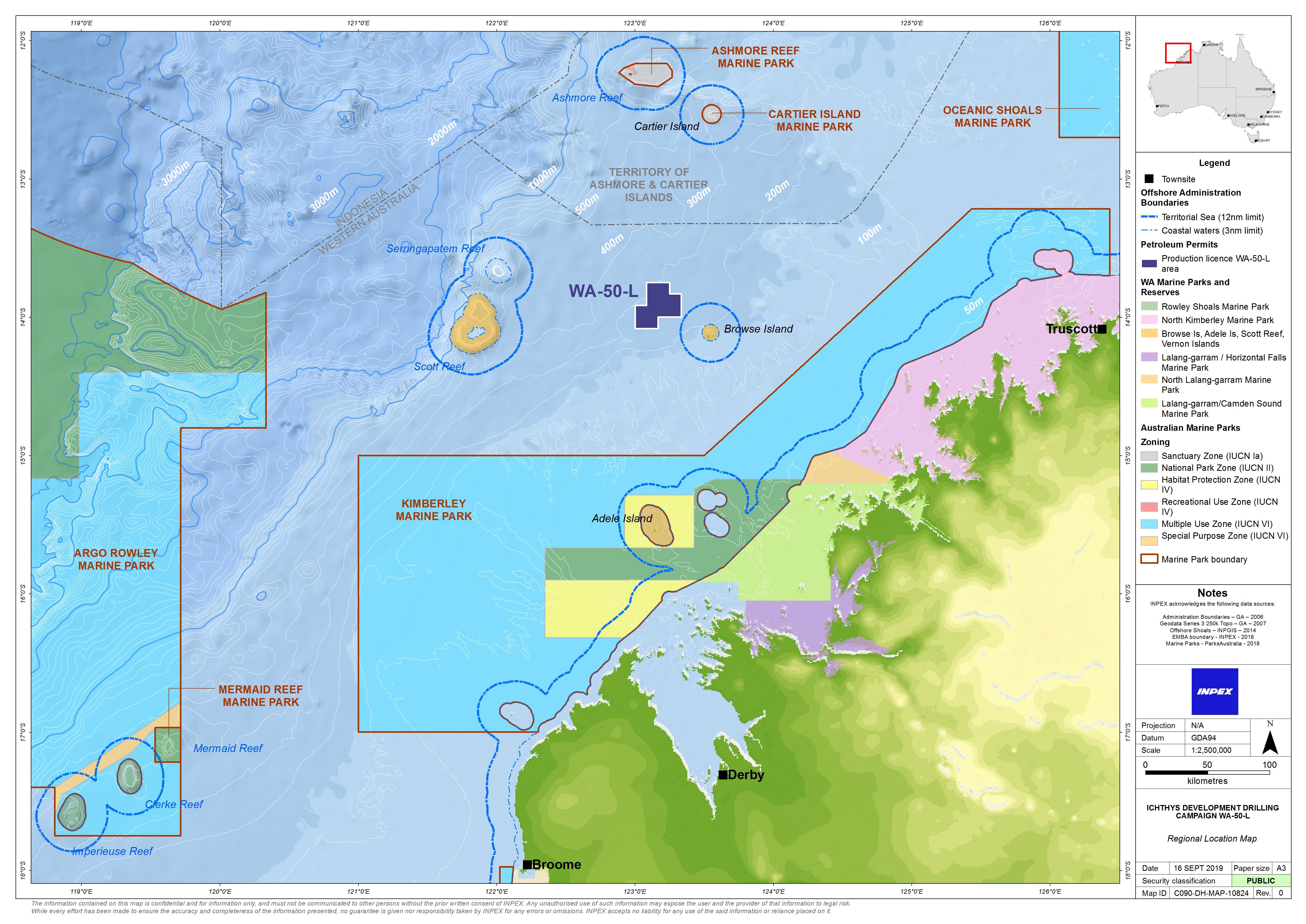 Location map - Activity: Ichthys Development Drilling Campaign WA-50-L - Phase 2 (refer to description)