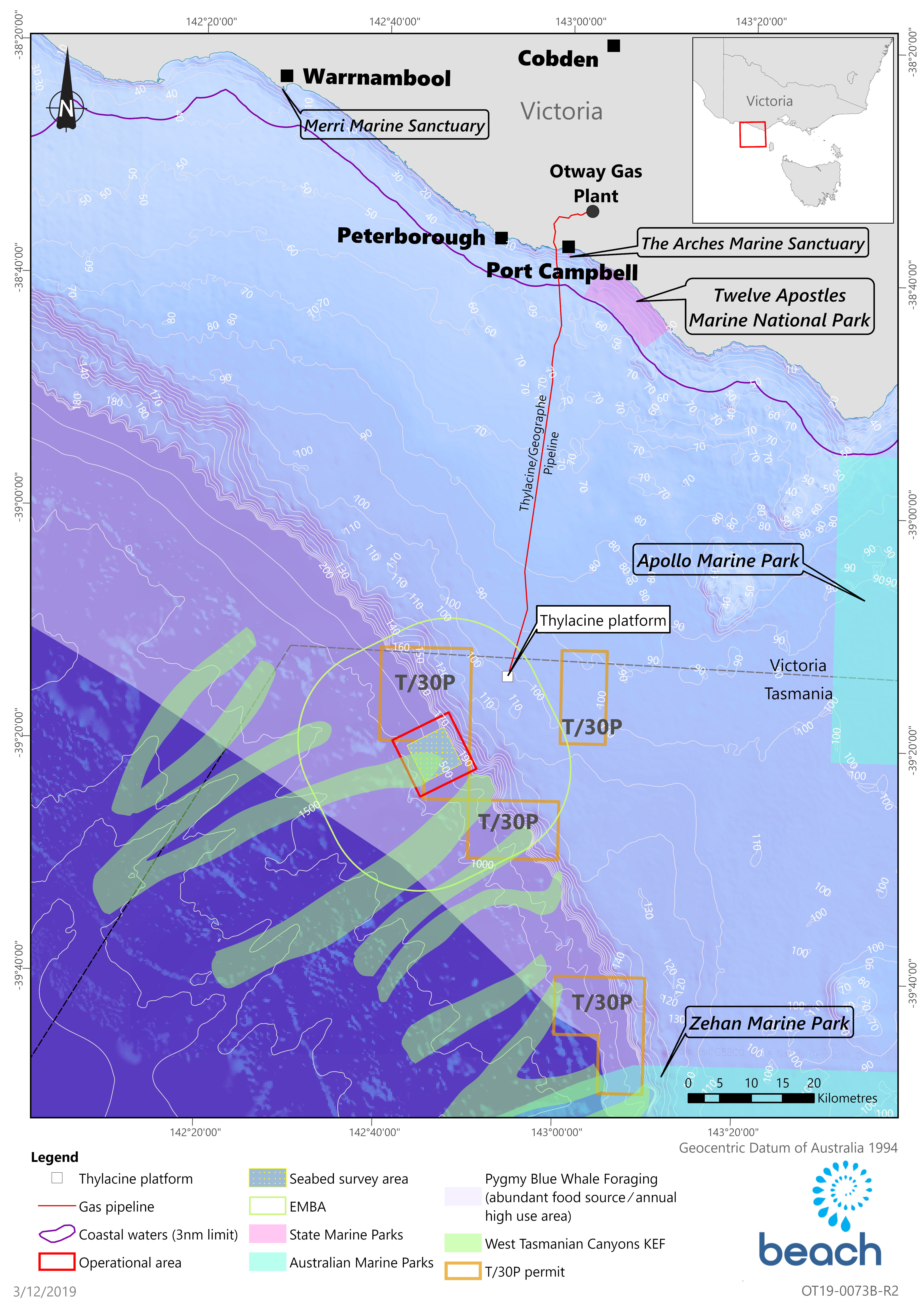 Location map - Activity: T/30P Geophysical and Geotechnical Seabed Survey (refer to description)