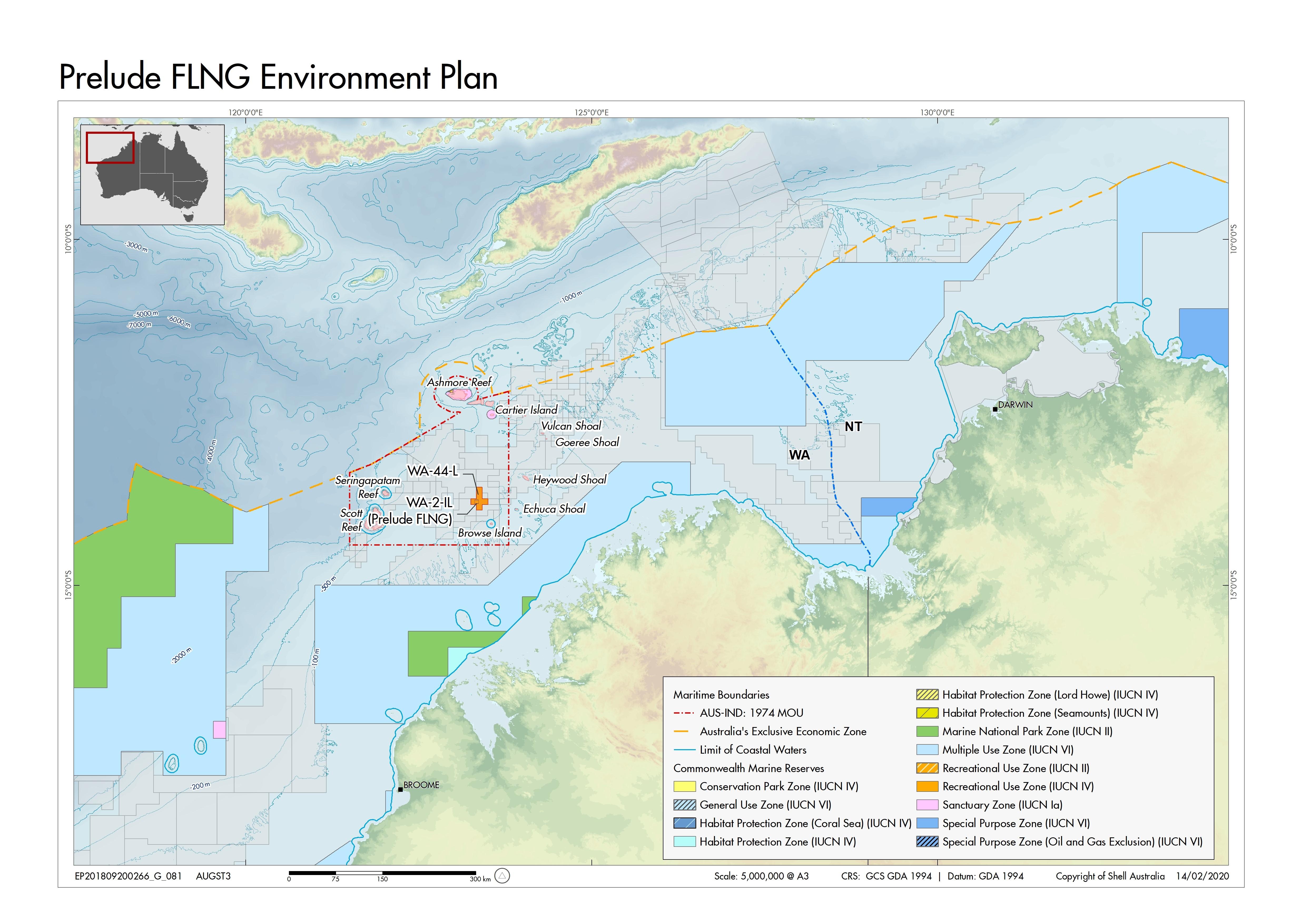 Location map - Activity: Prelude FLNG (refer to description)
