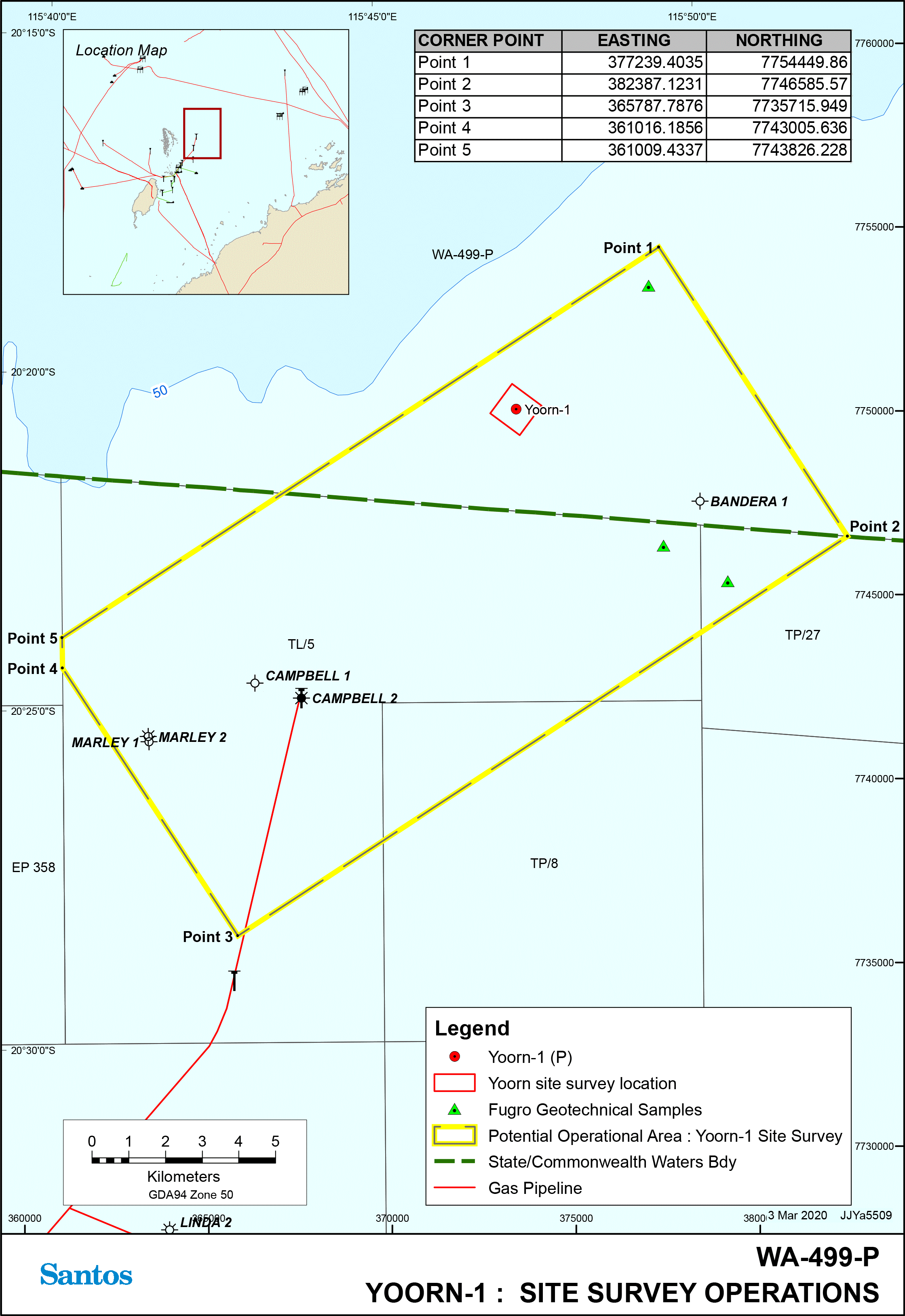 Location map - Activity: Yoorn-1 Geophysical Survey Environment Plan (State and Commonwealth Waters) (refer to description)