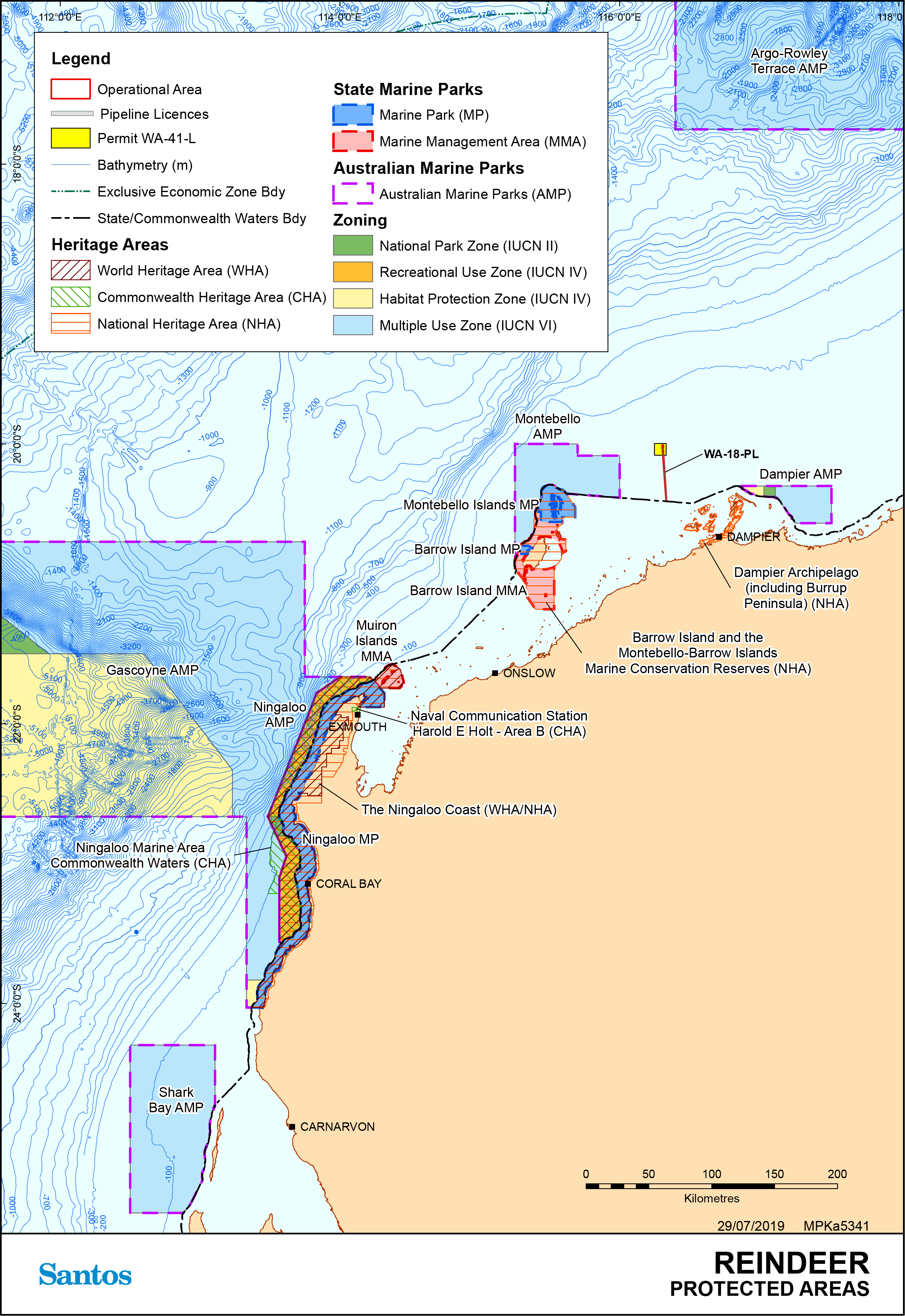 Location map - Activity: Reindeer Wellhead Platform and Offshore Gas Supply Pipeline Operations (refer to description)
