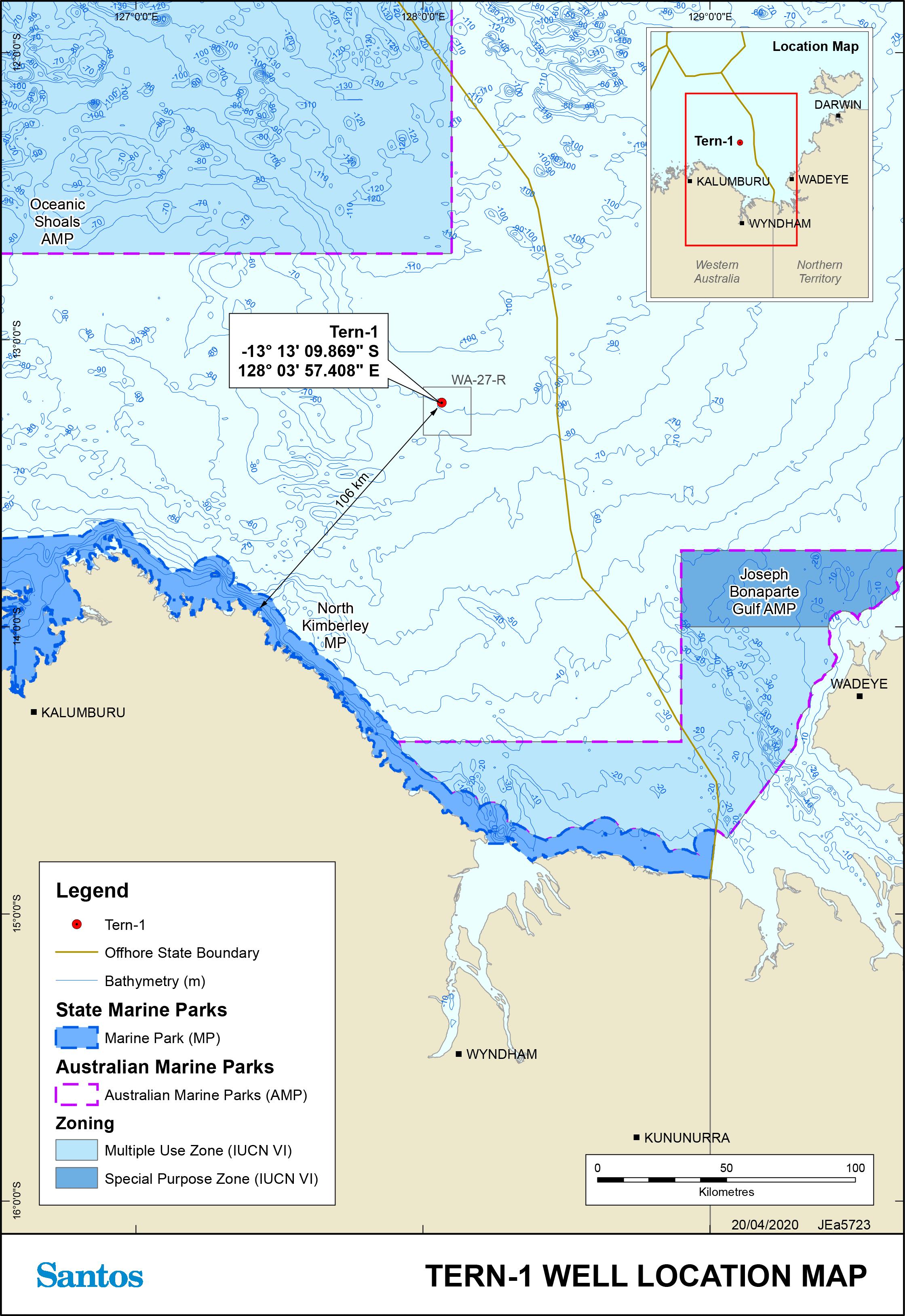 Location map - Activity: Santos Tern-1 Wellhead Abandonment (refer to description)