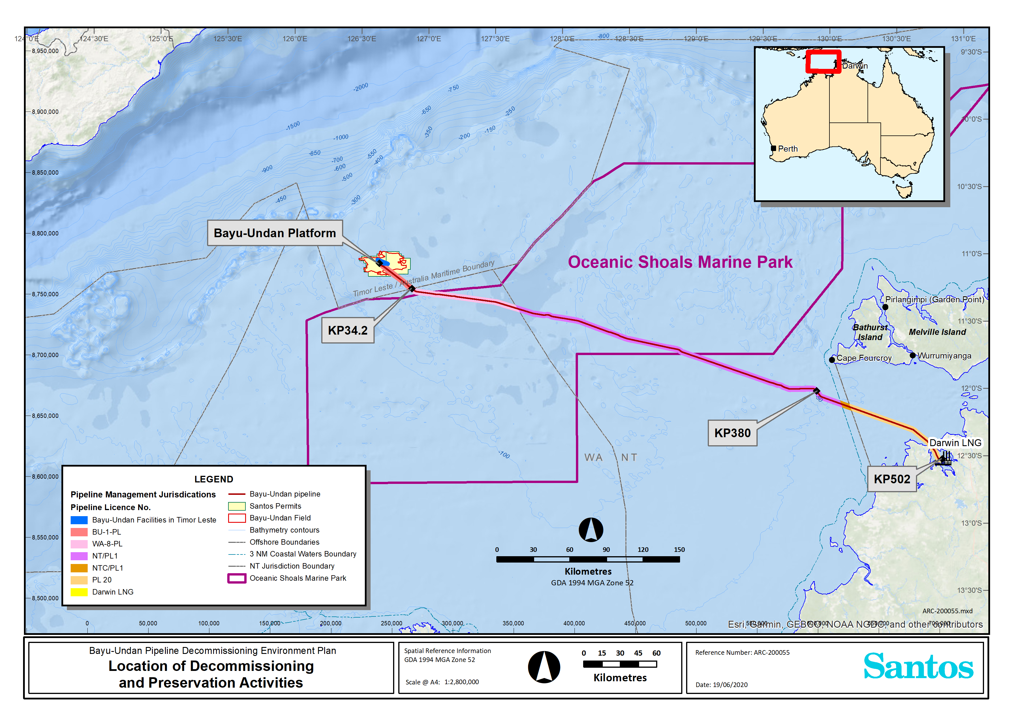 Location map - Activity: Bayu-Undan to Darwin Gas Export Pipeline Decommissioning & Preservation  (refer to description)