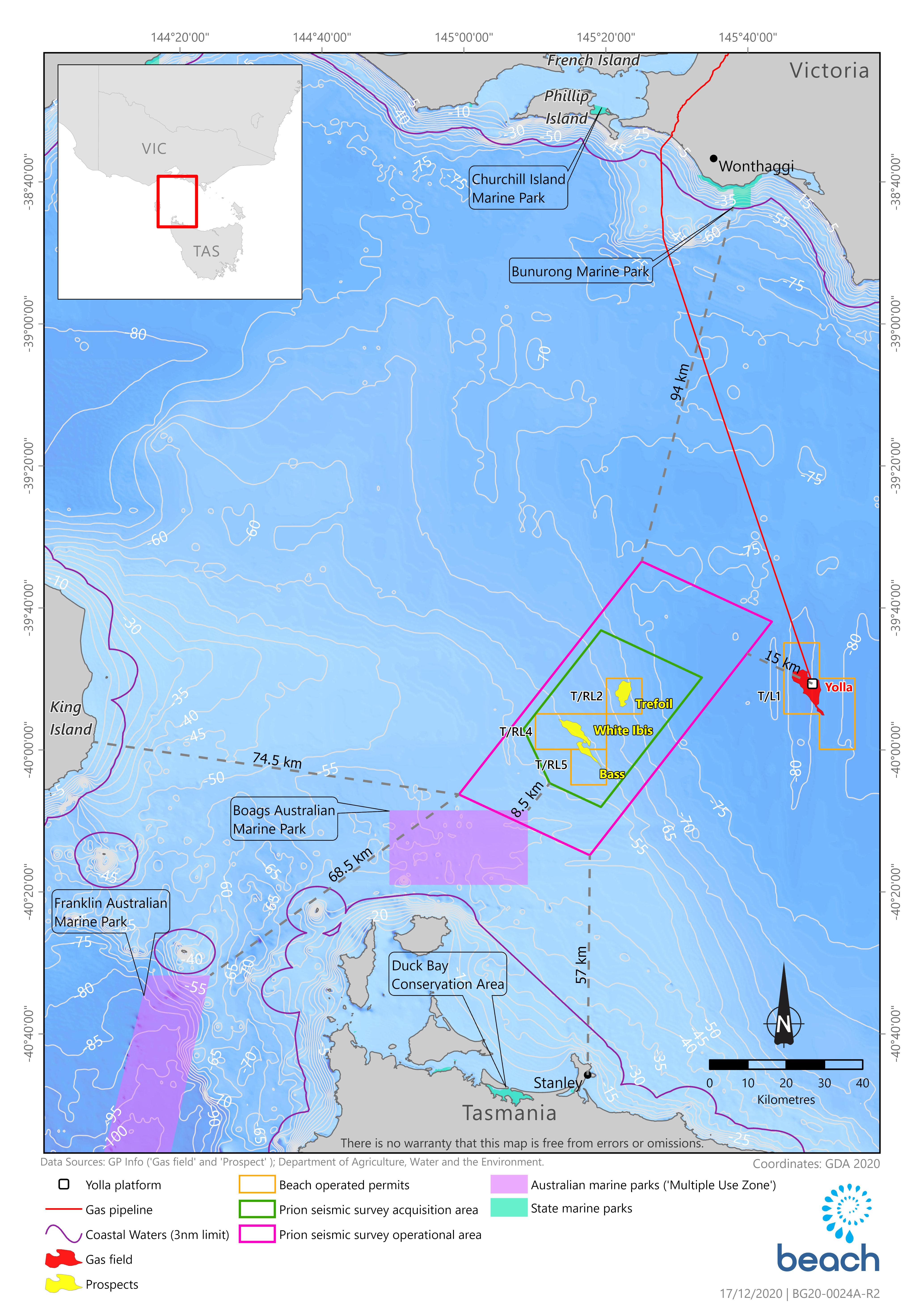 Location map - Activity: Prion 3D Marine Seismic Survey  (refer to description)