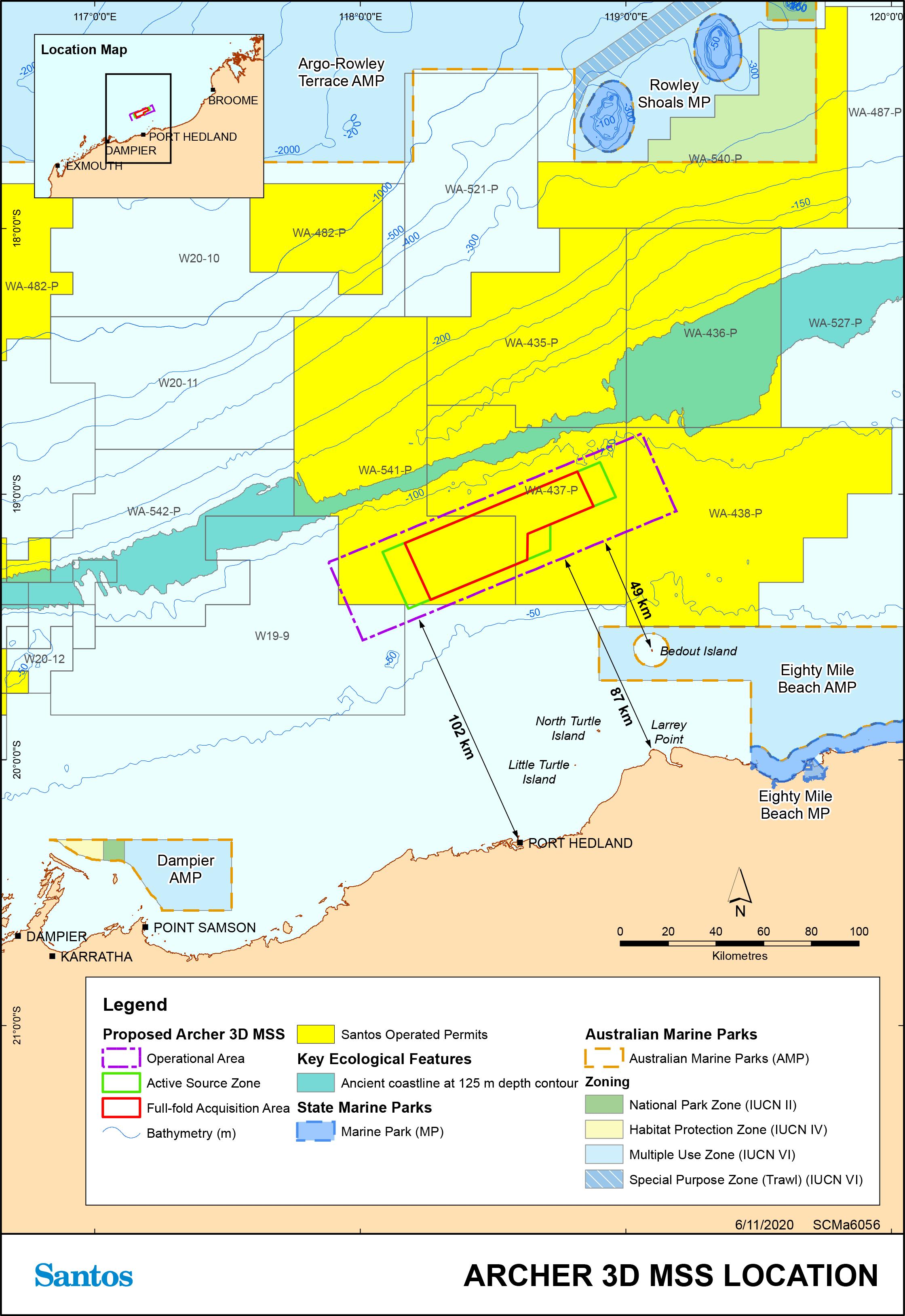Location map - Activity: Archer 3D Marine Seismic Survey (refer to description)