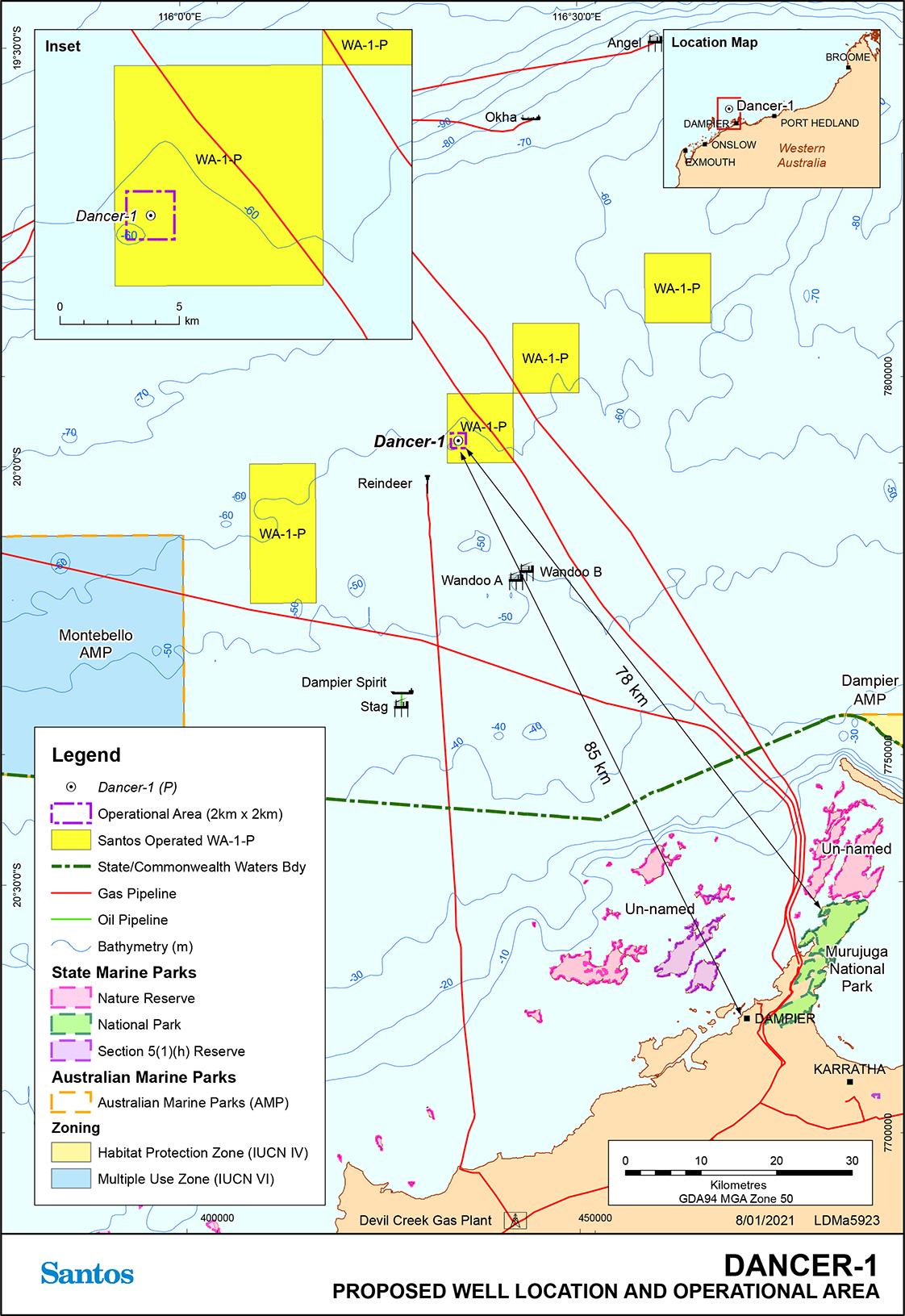 Location map - Activity: Dancer-1 Exploration Drilling  (refer to description)