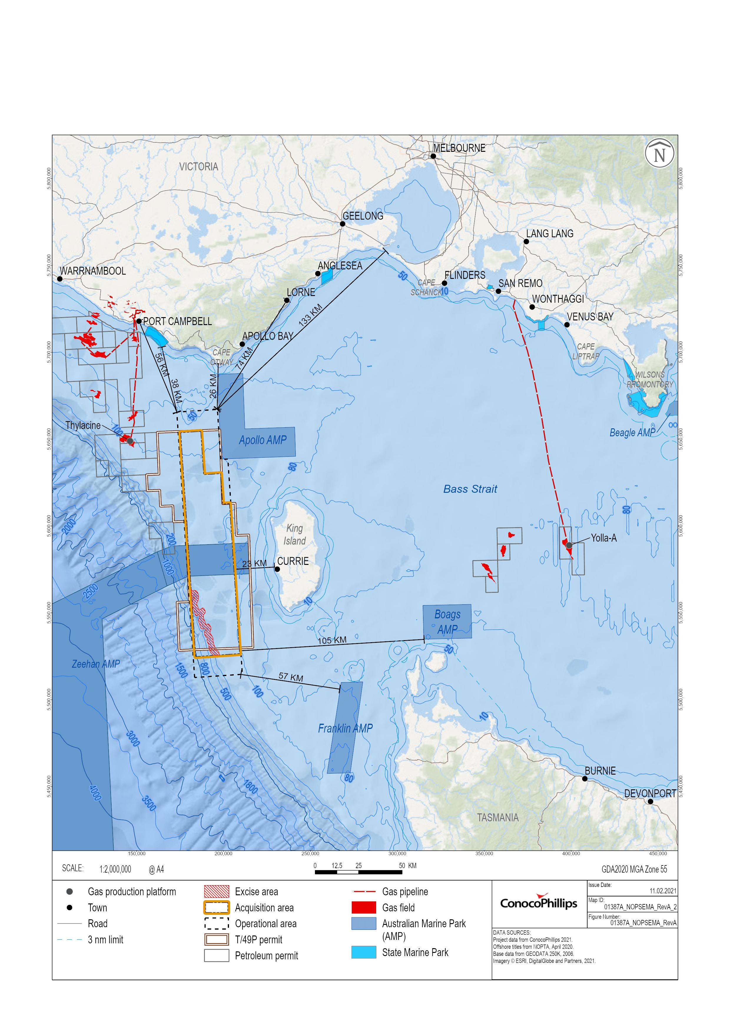 Location map - Activity: Sequoia 3D Marine Seismic Survey  (refer to description)