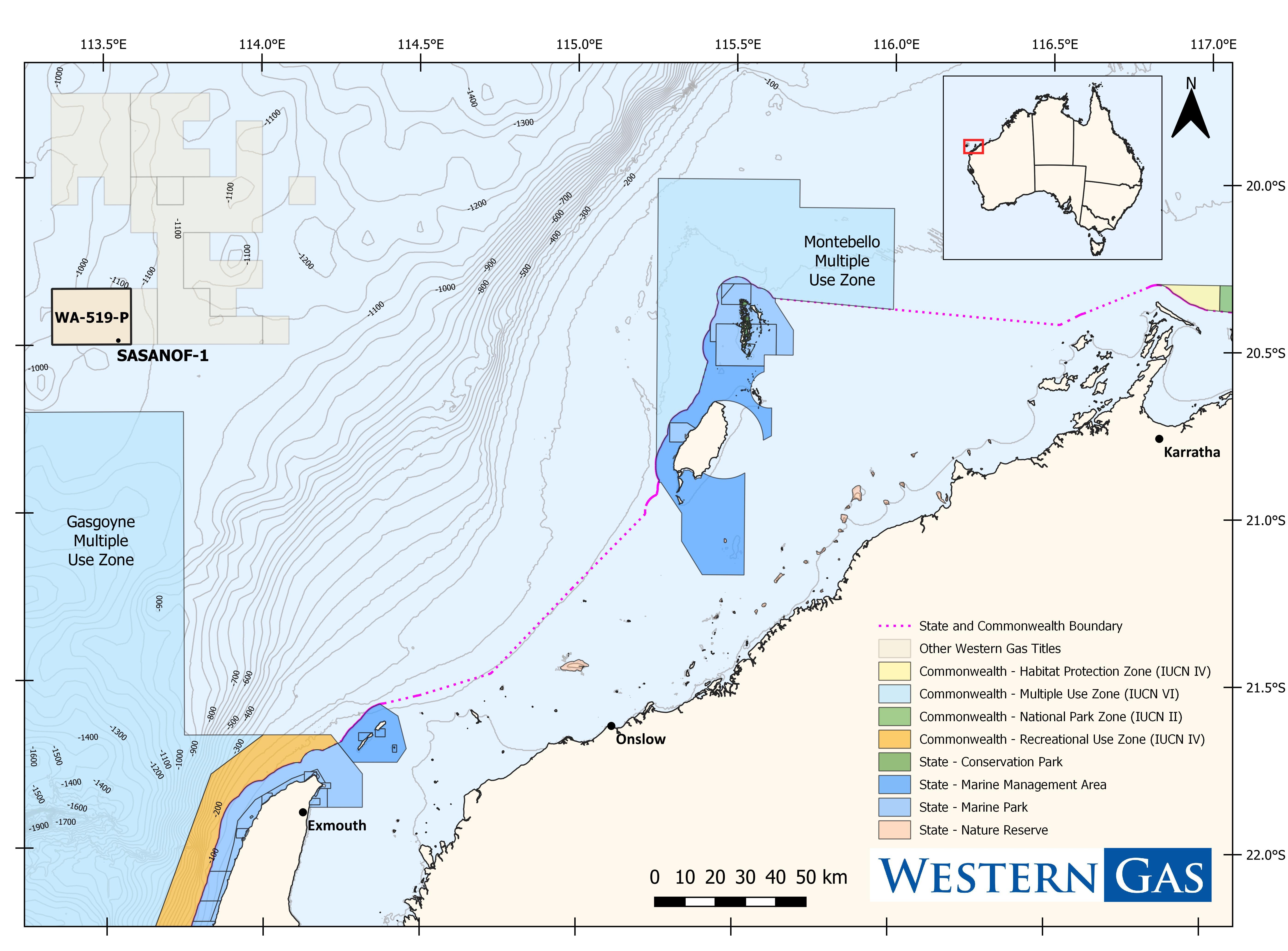 Location map - Activity: Sasanof-1 Exploration Drilling (refer to description)