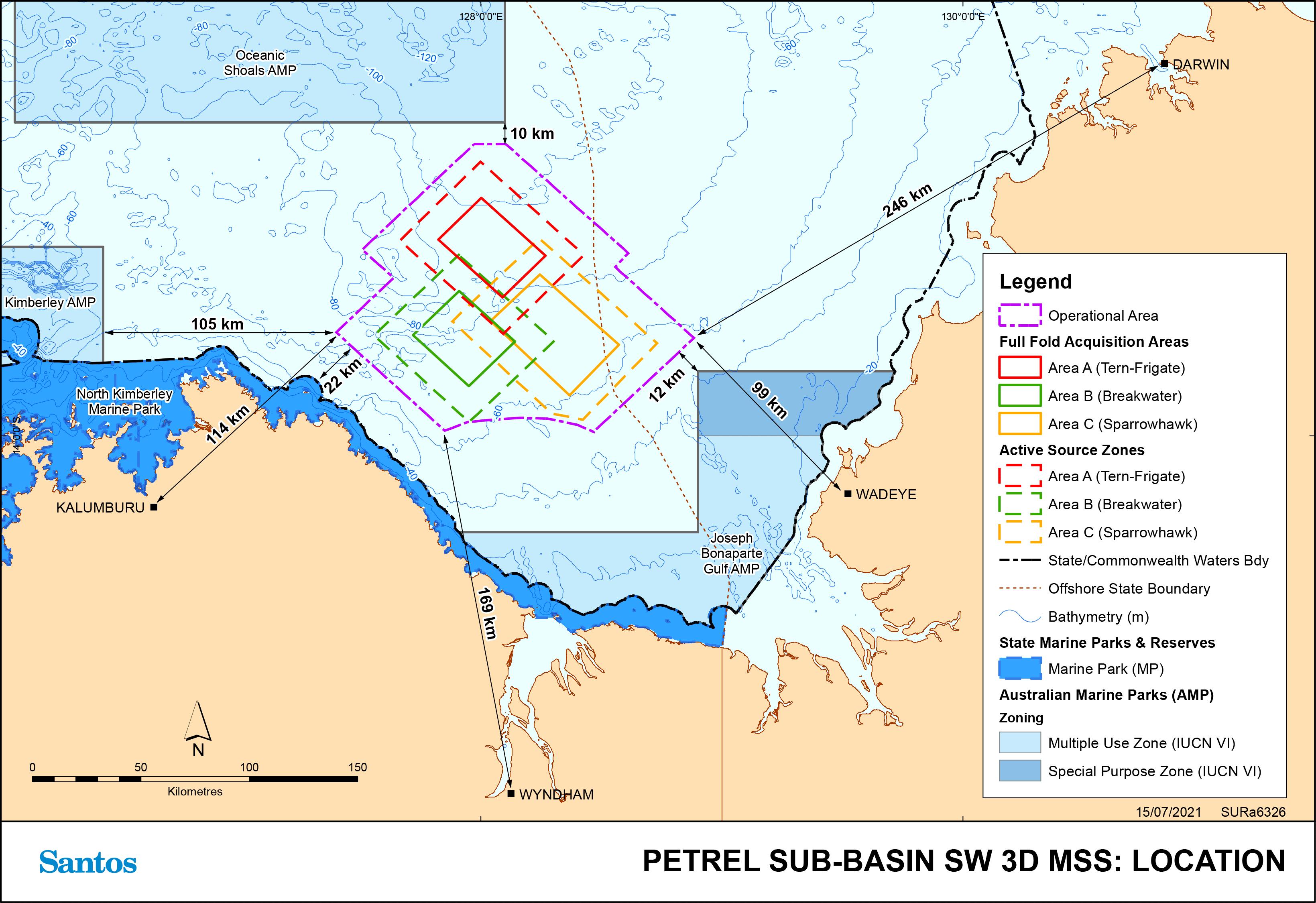 Location map - Activity: Petrel Sub-Basin South-West 3D Marine Seismic Survey (refer to description)