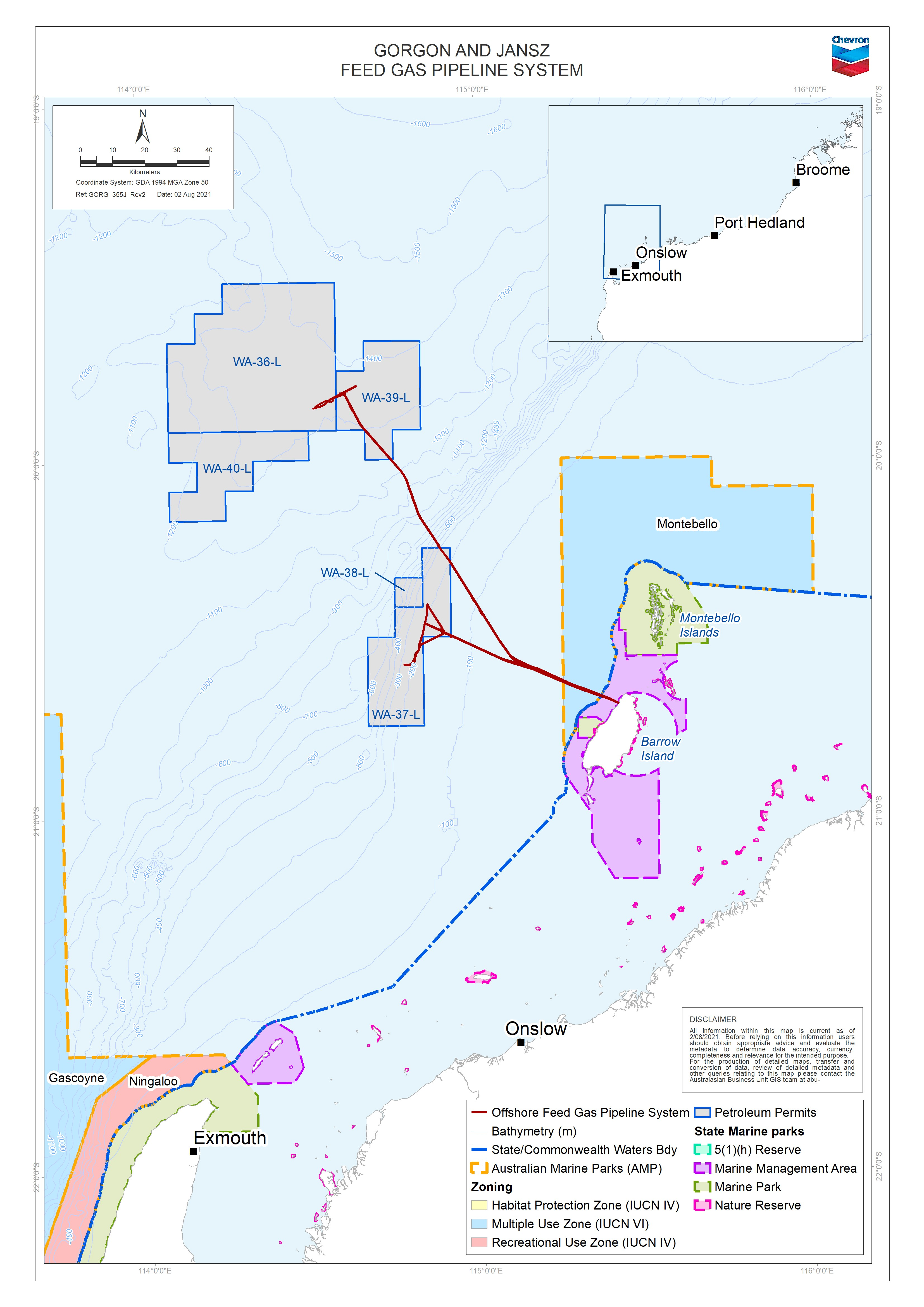 Location map - Activity: Gorgon and Jansz Feed Gas Pipeline and Wells Operations Environment Plan (refer to description)