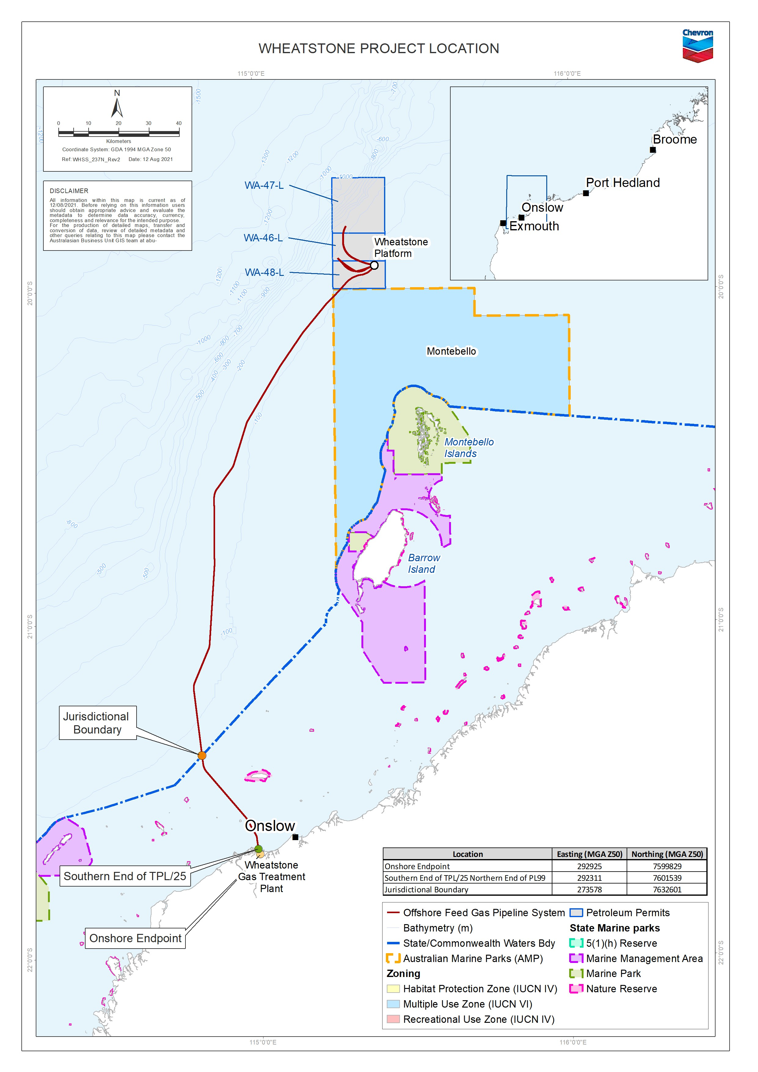 Location map - Activity: Wheatstone Project - Start-Up and Operations (refer to description)