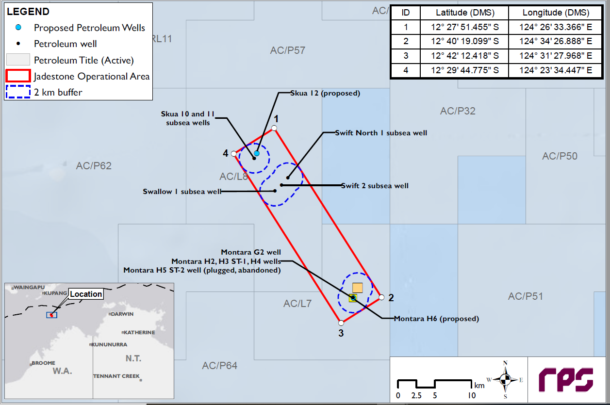 Location map - Activity: WHP and Subsea Fields ACL7 ACL8 Drilling Program (refer to description)