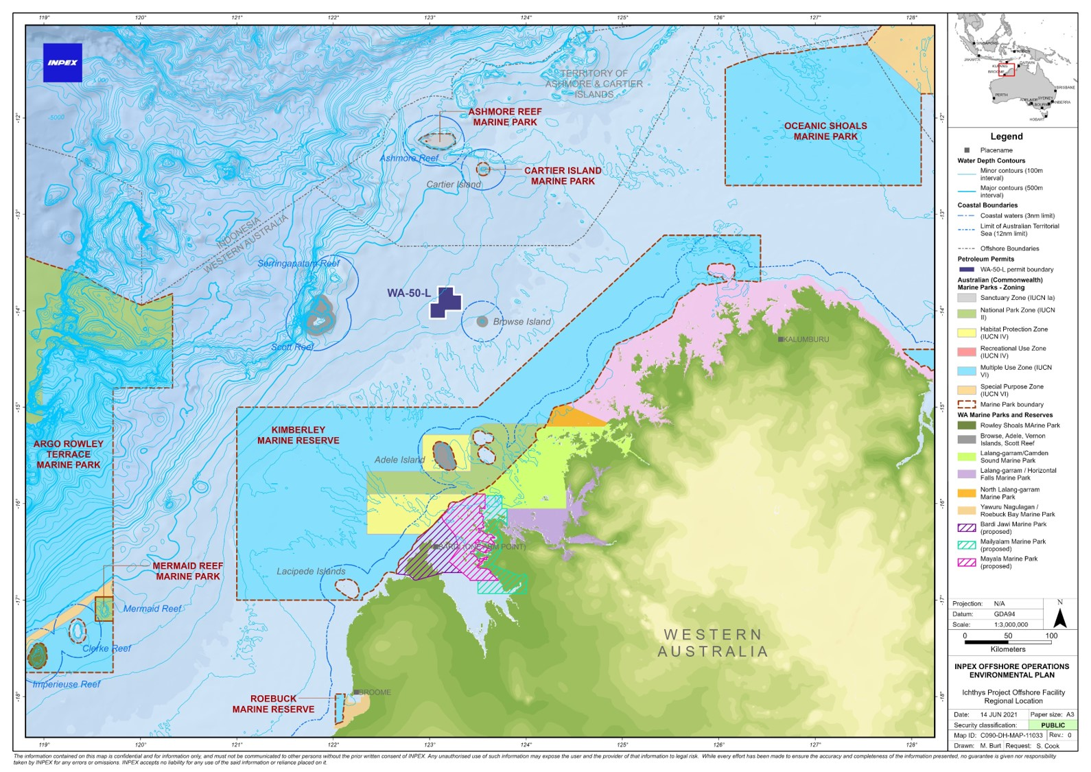 Location map - Activity: Ichthys Project Offshore Facility (Operation) (refer to description)