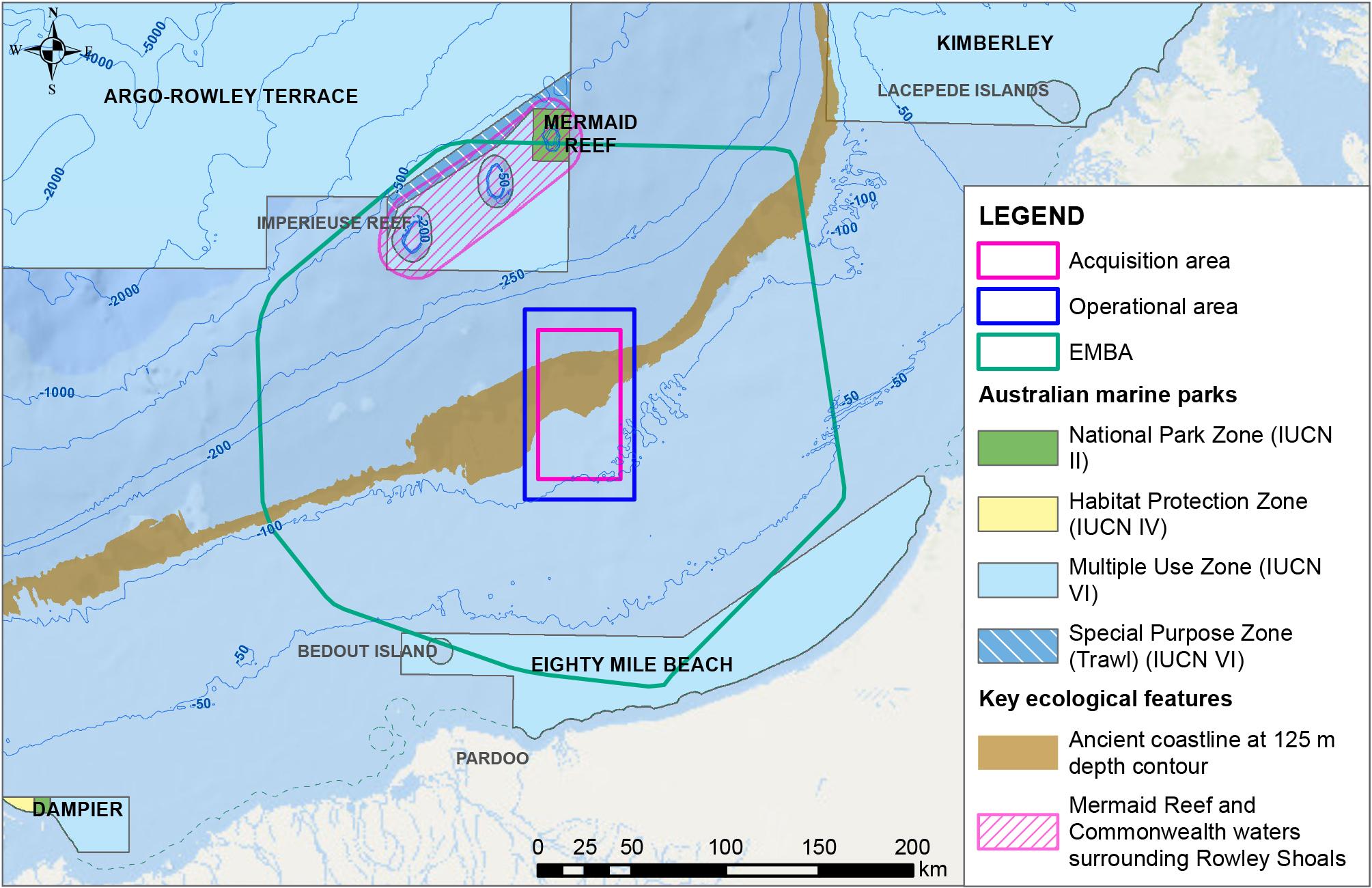 Location map - Activity: Sauropod 3D Marine Seismic Survey  (refer to description)